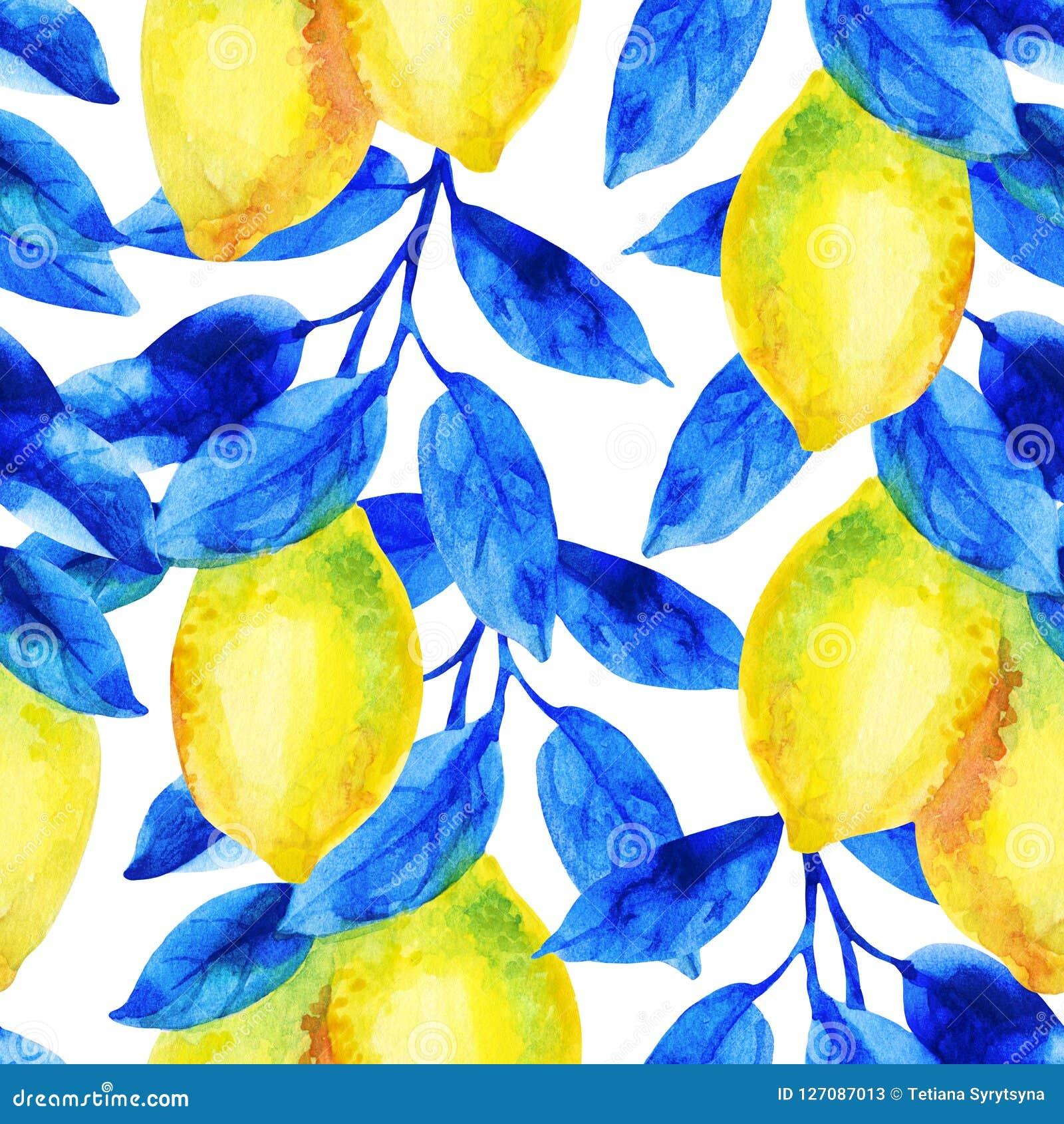 Akwareli cytryny owoc gałąź z jaskrawym błękitem opuszcza bezszwowego wzór