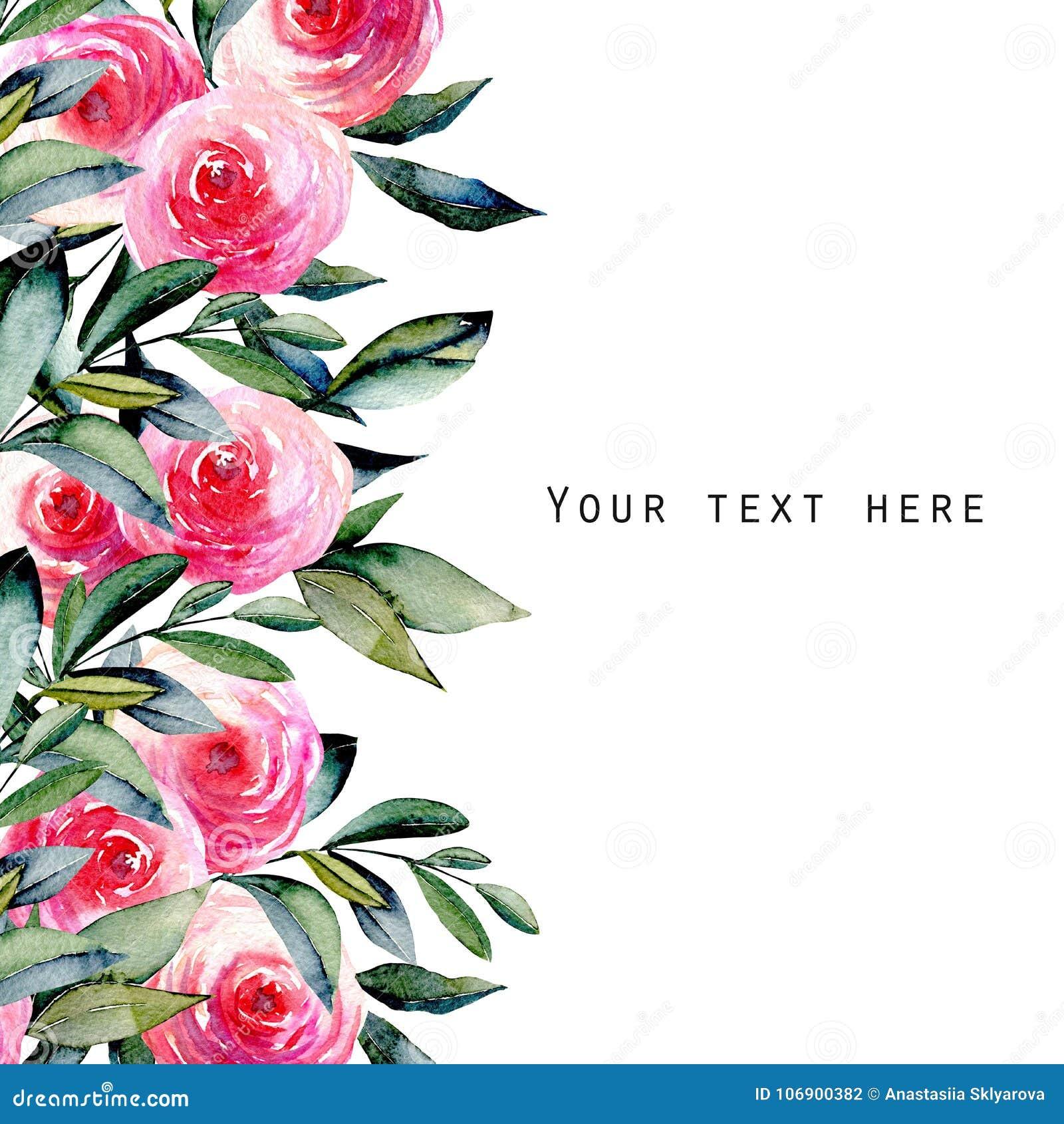 Akwareli czerwone róże i zieleń liście karciany szablon, ręka rysująca na białym tle