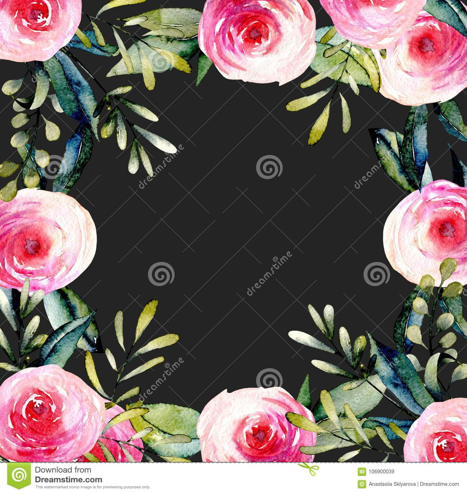 Akwareli czerwone róże i zieleń liście karciany szablon, ręka rysująca na ciemnym tle
