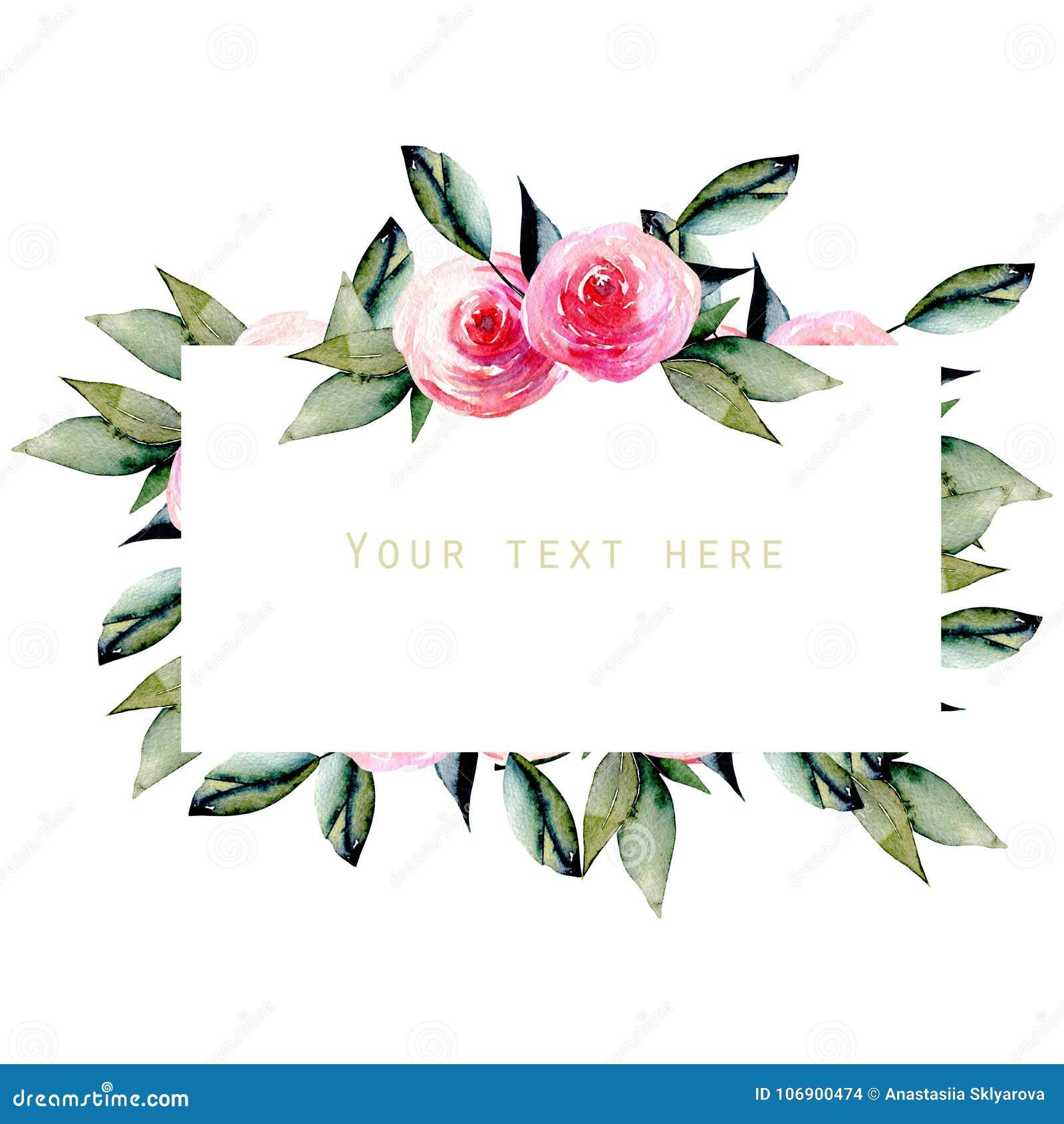 Akwareli czerwone róże i zieleń liście obramiają, wręczają, patroszonego na białym tle