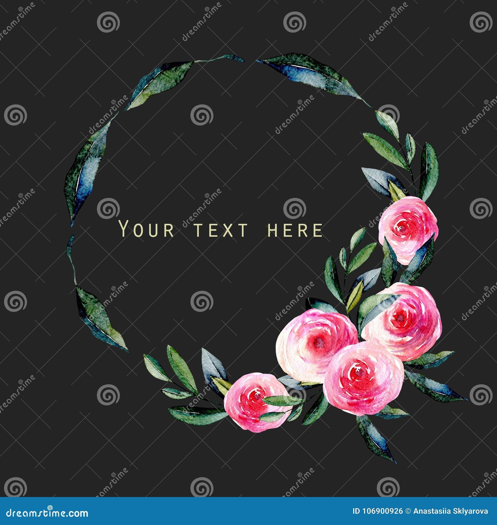Akwareli czerwone róże i zieleń liście wianki, ręka rysująca