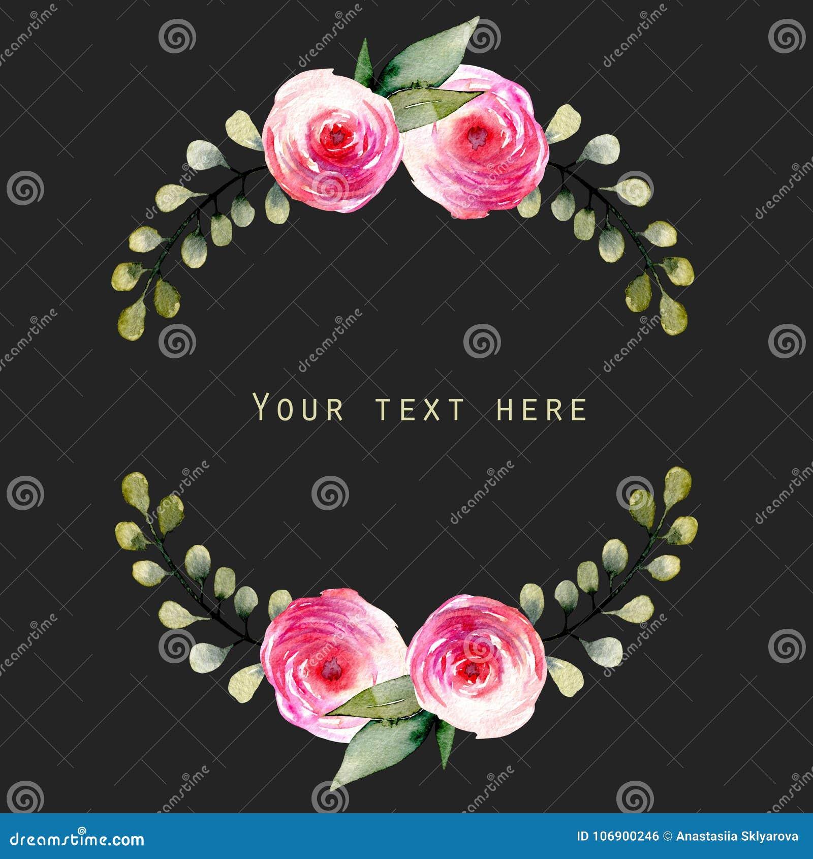 Akwareli czerwone róże i zieleni gałąź wianek, ręka rysująca na ciemnym tle