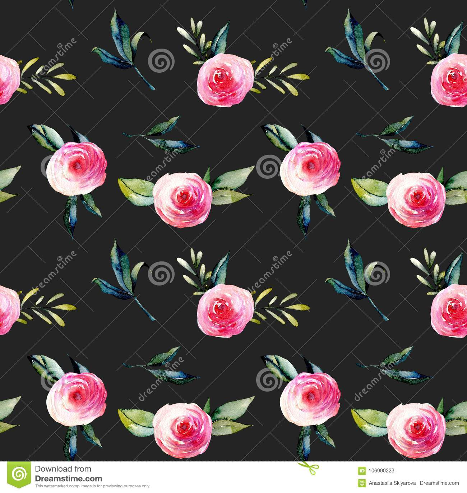 Akwareli czerwone róże, zieleń opuszczają bukiety i rozgałęziają się bezszwowy wzór