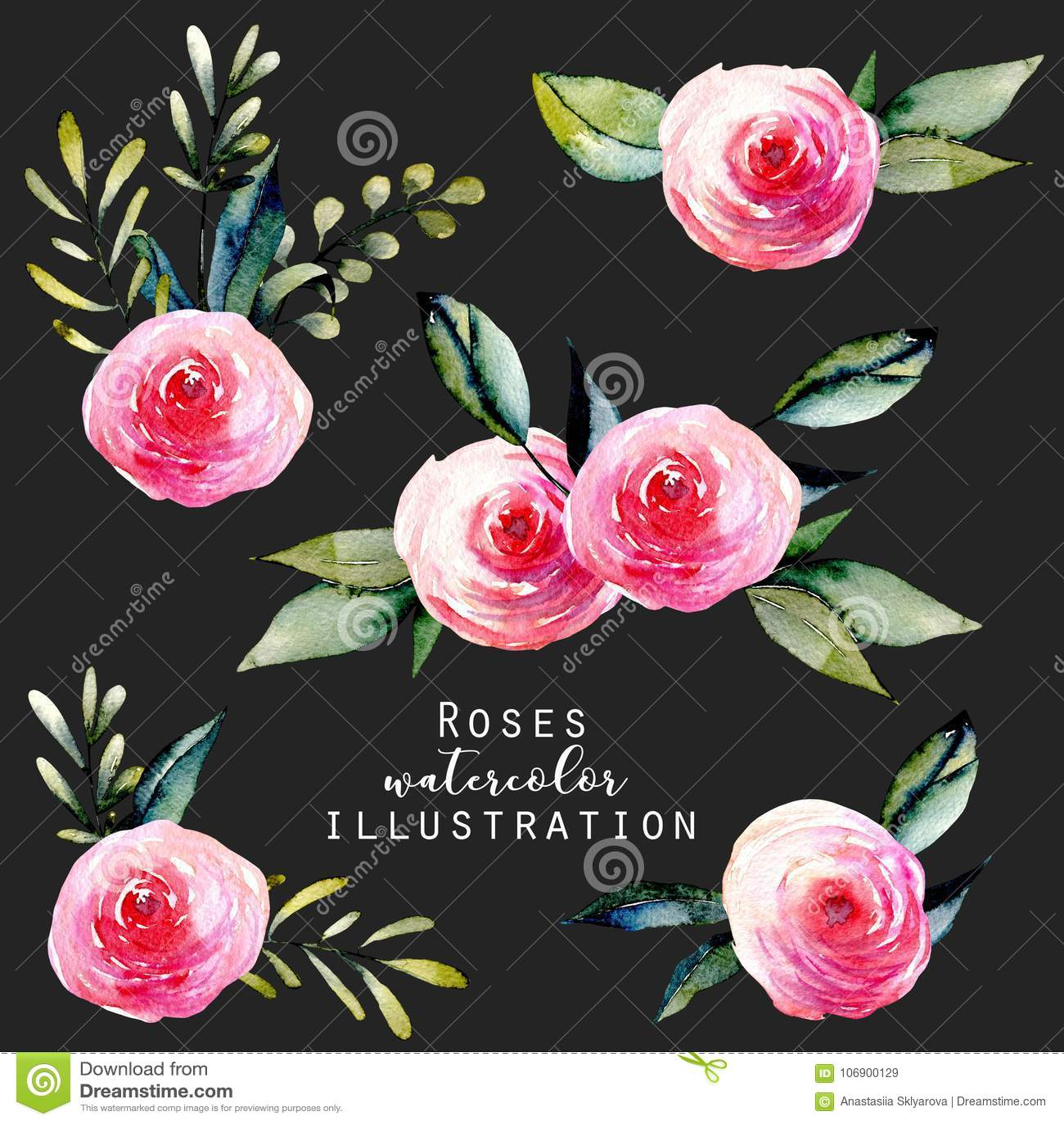 Akwareli czerwonych róż i zieleń liści bukiety ustawiający