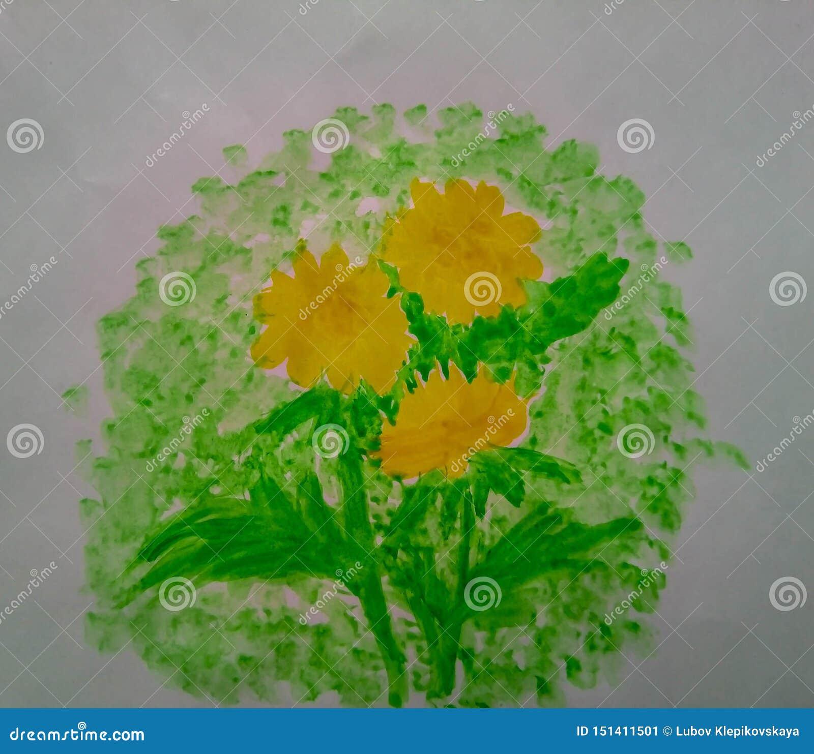 Akwareli dandelions malują kwiecistą naturę
