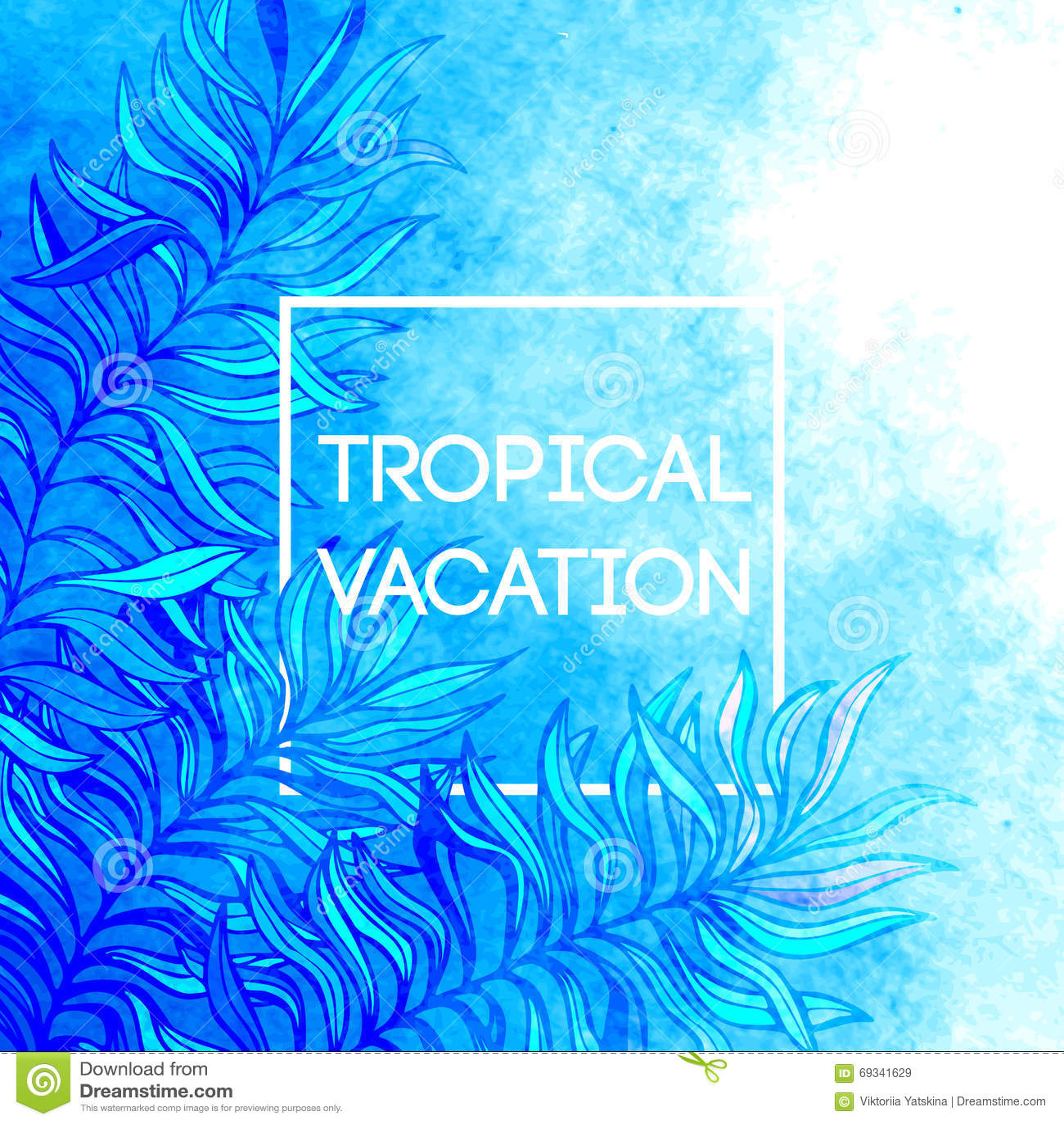 Akwareli drzewka palmowego liścia tropikalny tło Tropikalny urlopowy projekt również zwrócić corel ilustracji wektora