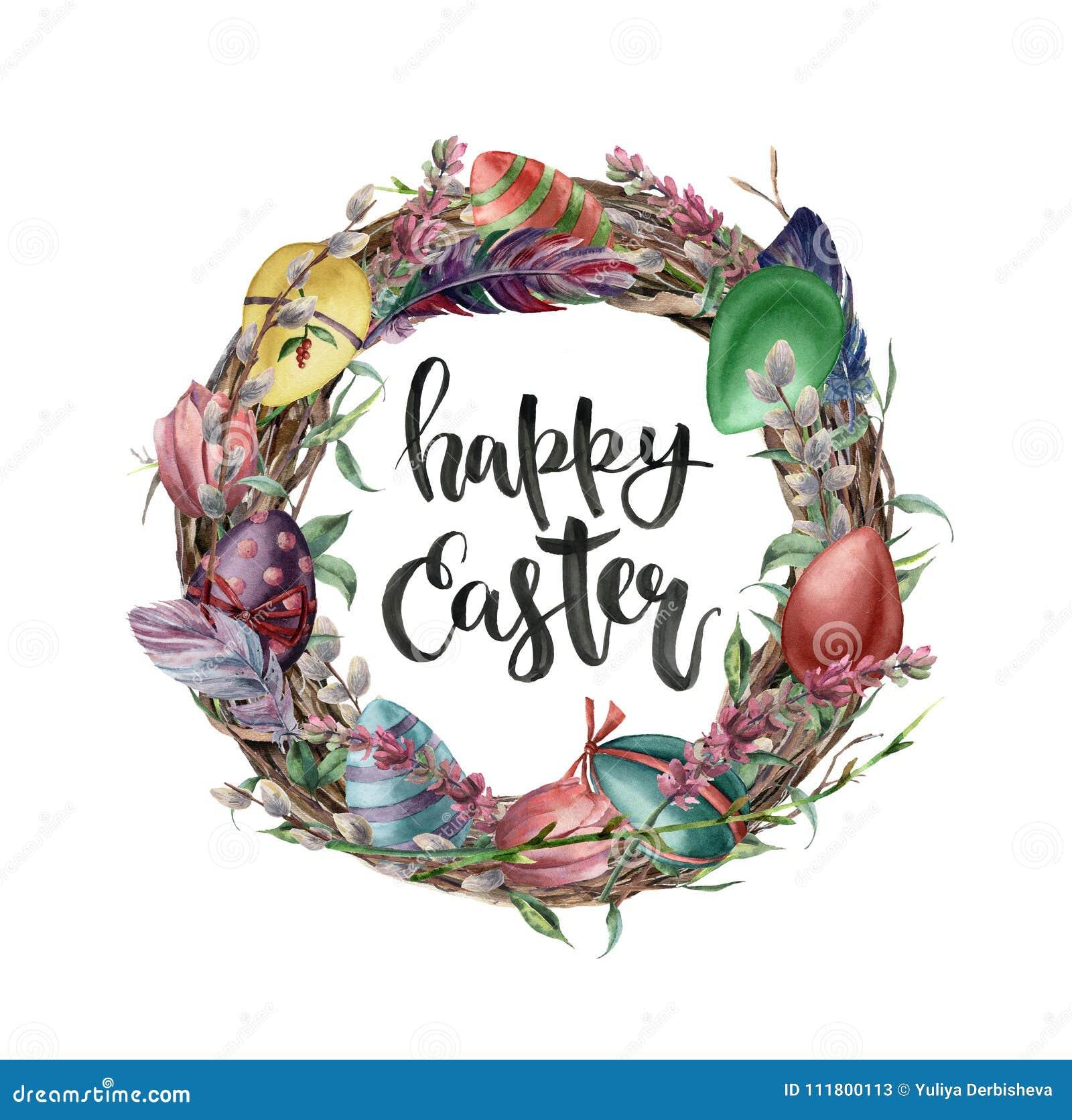 Akwareli Easter karta z jajkami, kwiatami i literowaniem, Wręcza malującą ilustrację z wierzbą, tulipanem, piórkiem i drzewem,