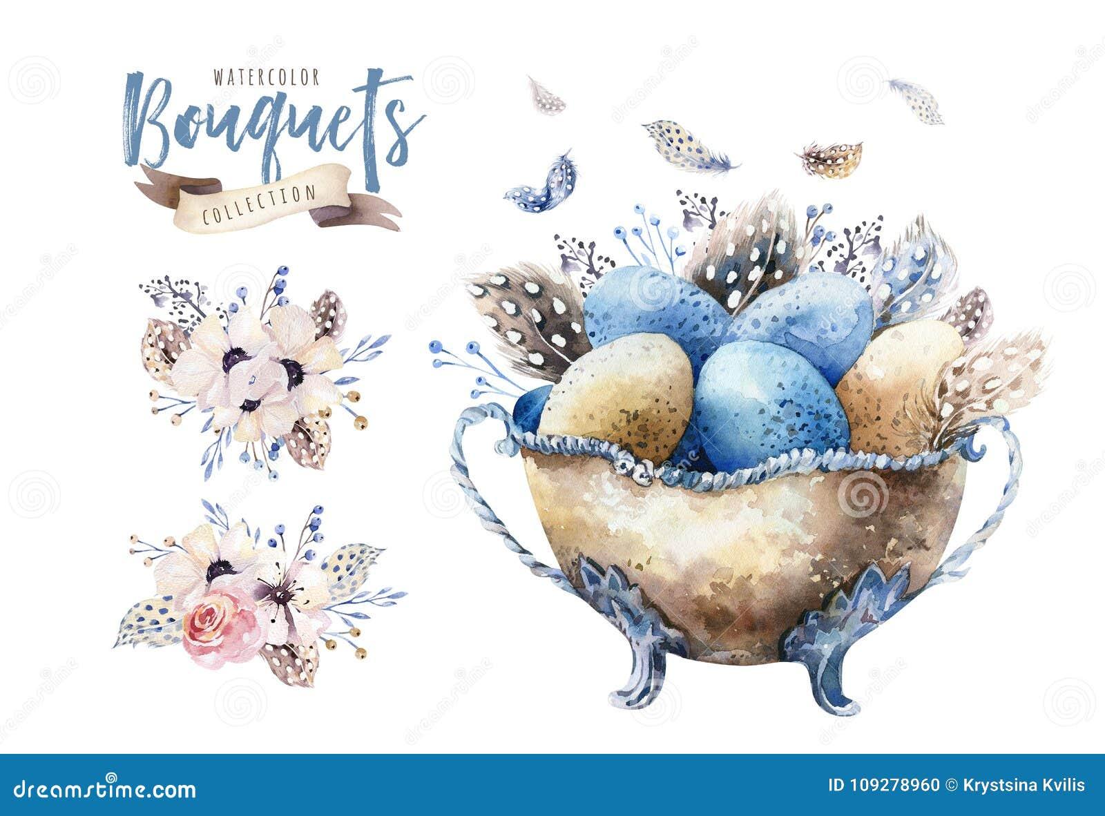 Akwareli Easter szczęśliwa wazowa ilustracja z kwiatami, piórkami i jajkami, Wiosna wakacje dekoracja Kwietnia boho projekt