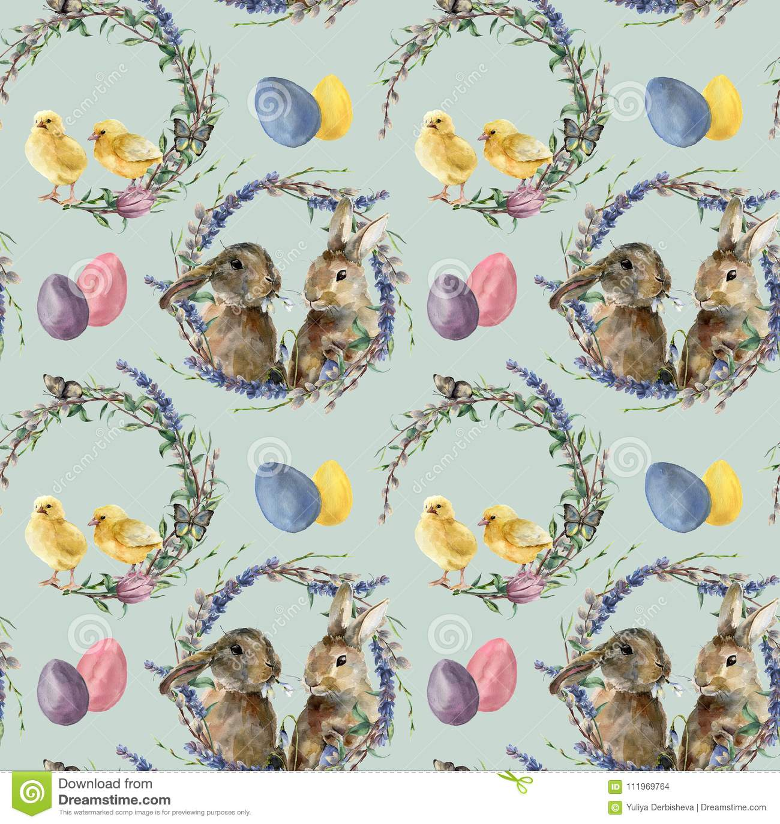 Akwareli Easter wianku wzór z królikiem Wręcza malującego kurczaka z lawendą, wierzba, tulipan, kolorów jajka, motyl