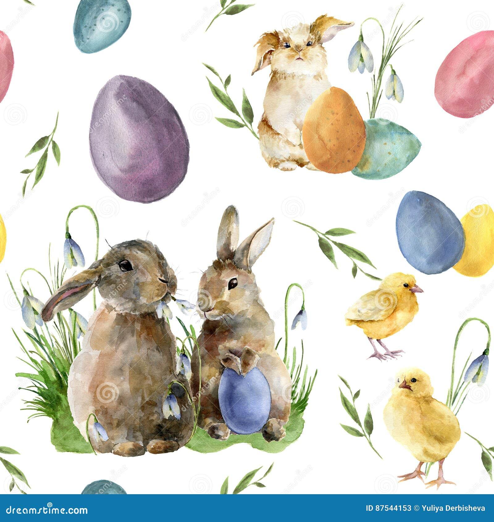 Akwareli Easter wzór z królikiem i kurczątkiem Wakacyjny ornament z królikiem, ptakiem, barwionymi jajkami i śnieżyczkami odizolo