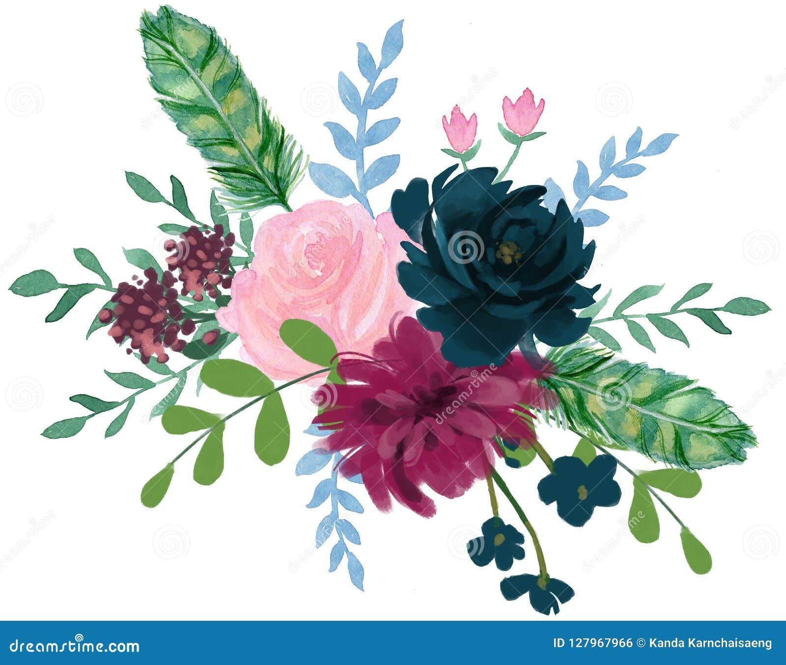 Akwareli flor rocznika artystycznej różanej peoni kwiatu abstrakcjonistyczny arr