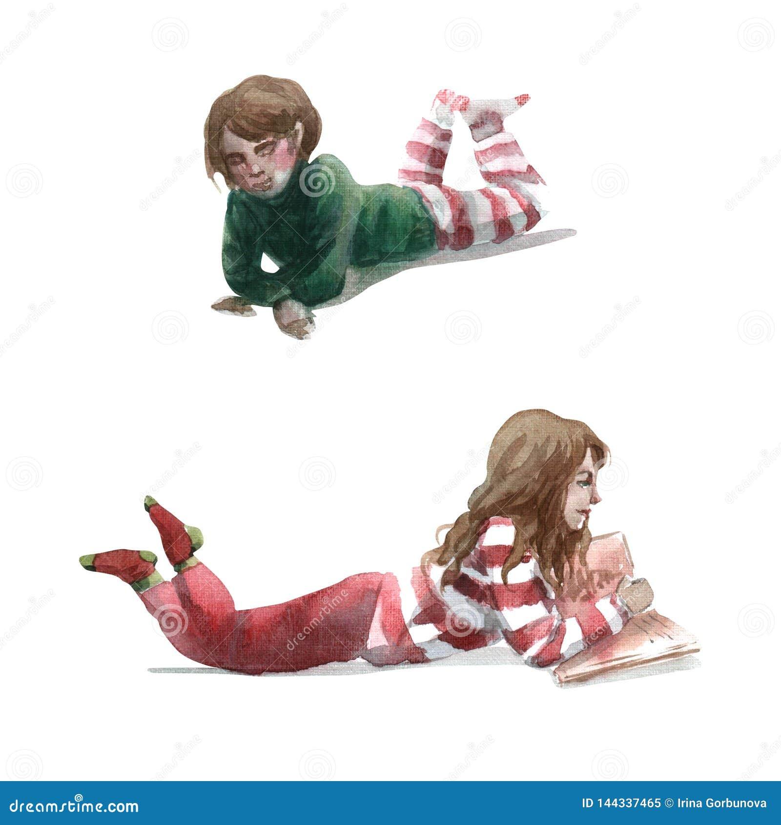 Akwareli ilustracja dzieci z książkowym kłamstwem na podłodze odizolowywającej na białym tle