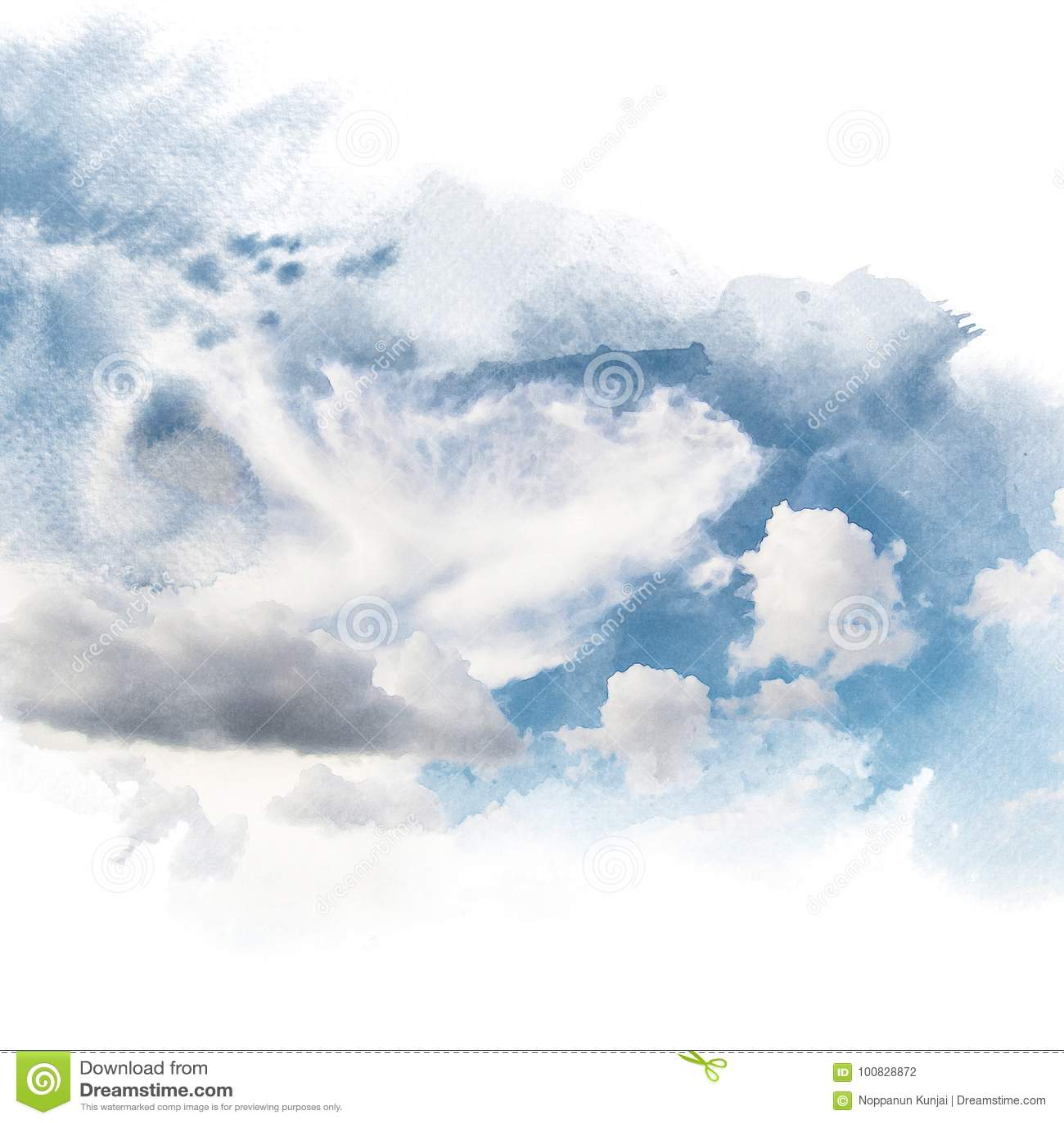 Akwareli ilustracja niebo z obłocznym retuszem