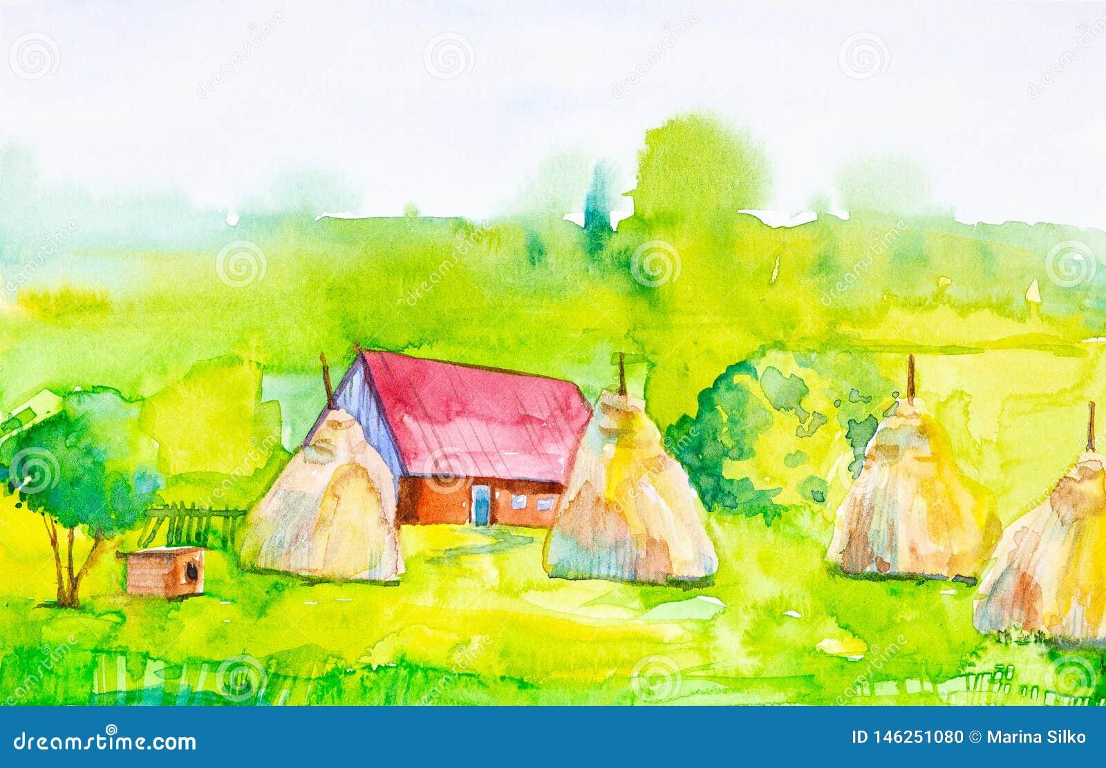 Akwareli ilustracja wioska dom, haystacks z doghouse w przedpolu i Zielony las w tle