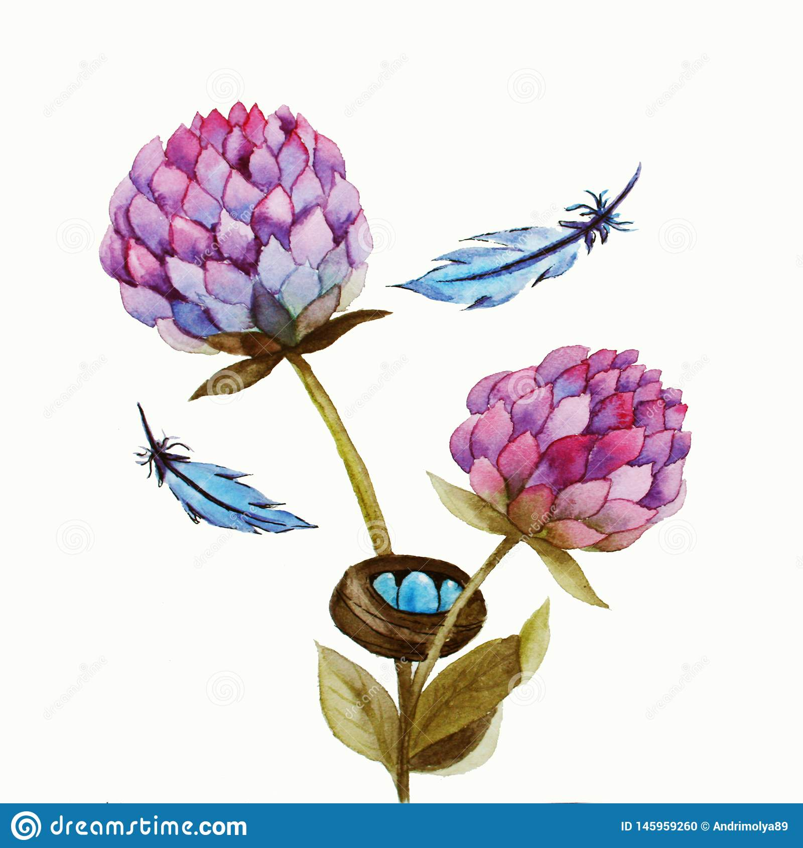 Akwareli ilustracja z menchia kwiatem