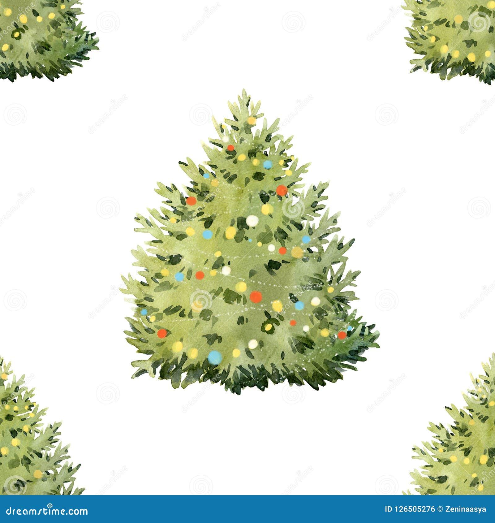 Akwareli jedlinowego drzewa bożych narodzeń wzór