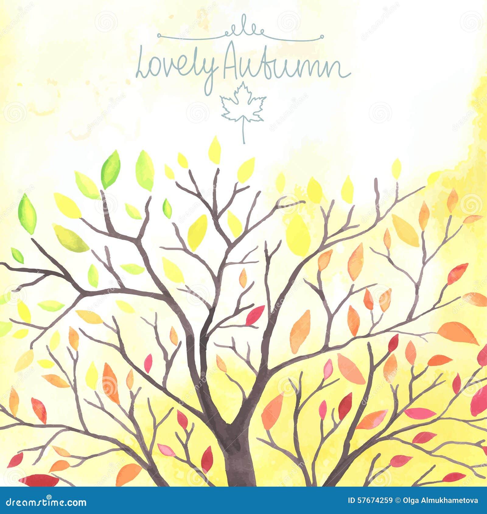 Akwareli jesieni drzewo z spada puszków liśćmi