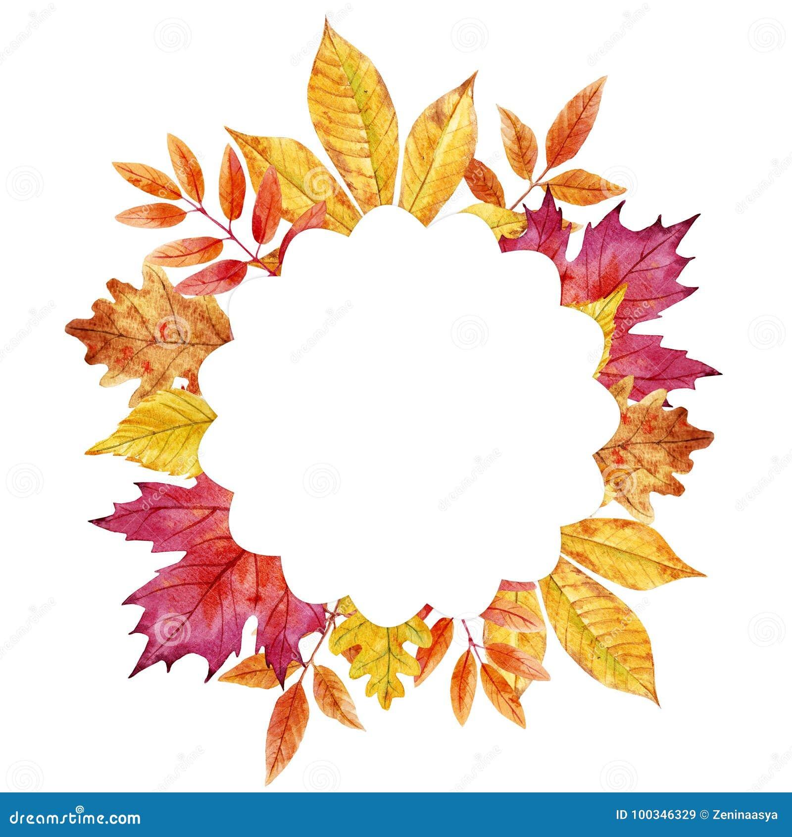 Akwareli jesieni liści rama