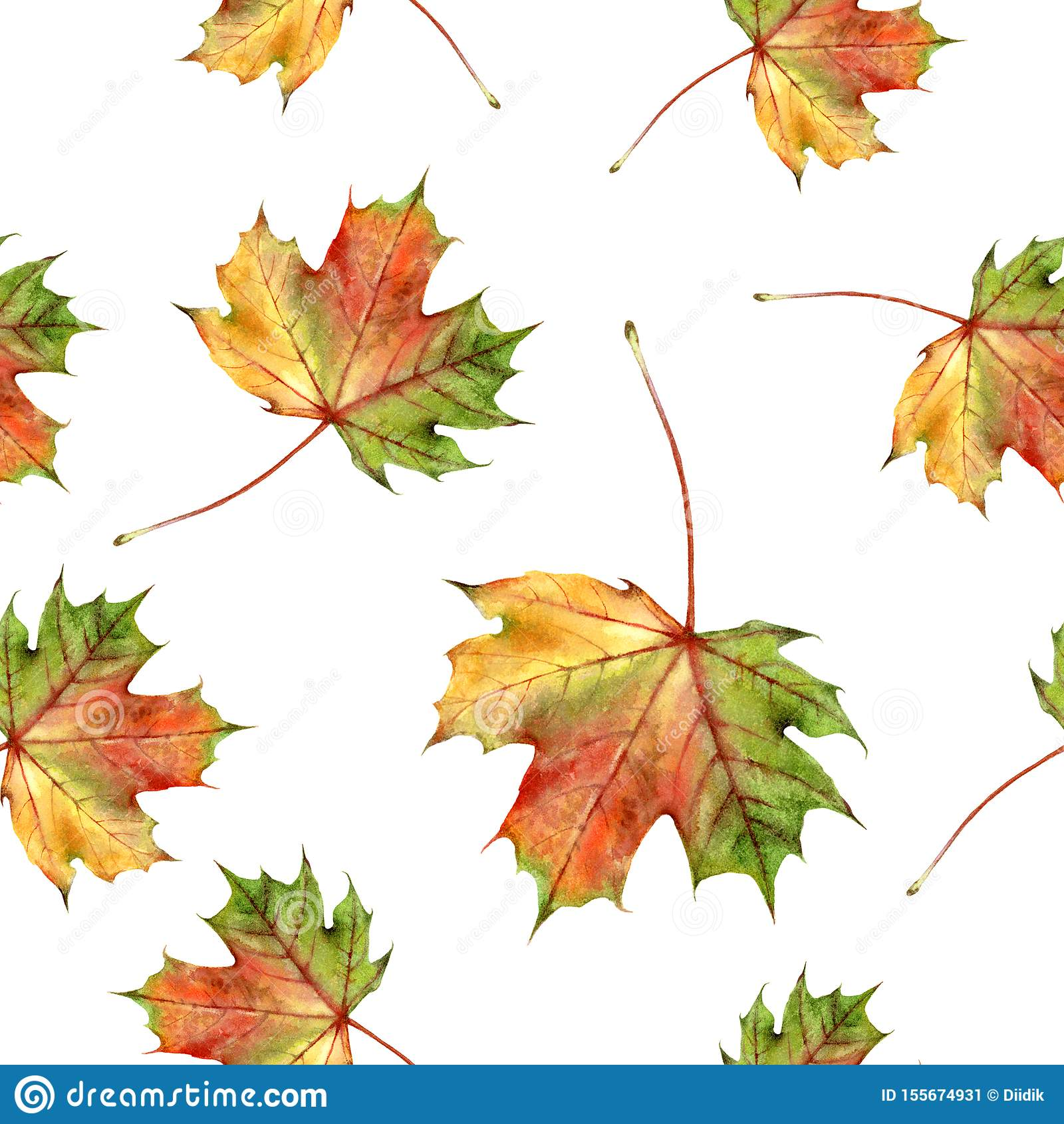 Akwareli jesieni ręka rysujący liść odizolowywał bezszwowego wzór