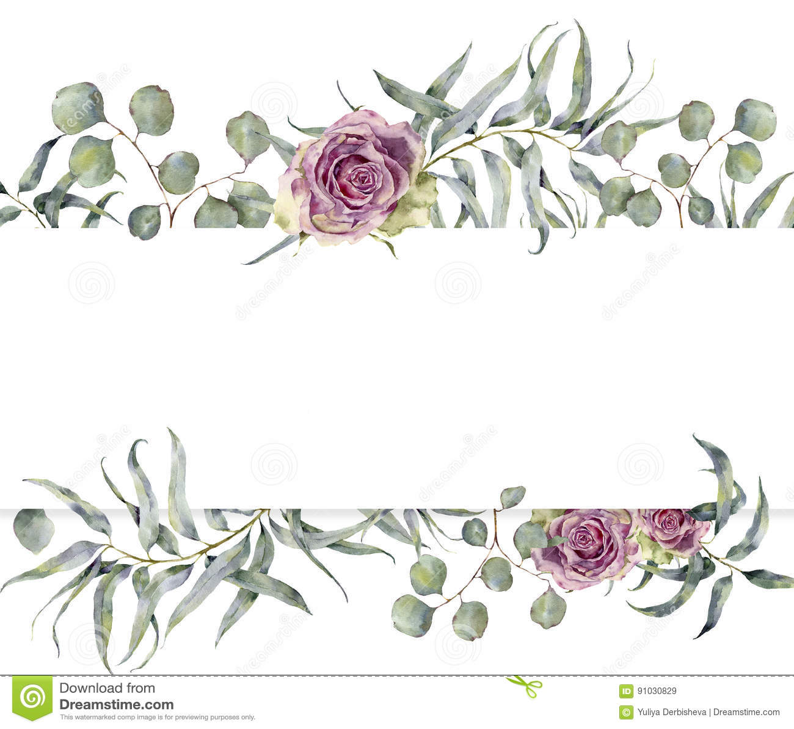 Akwareli karta z eukaliptus różami i gałąź Ręka malował kwiecistą ramę z round liśćmi srebny dolar