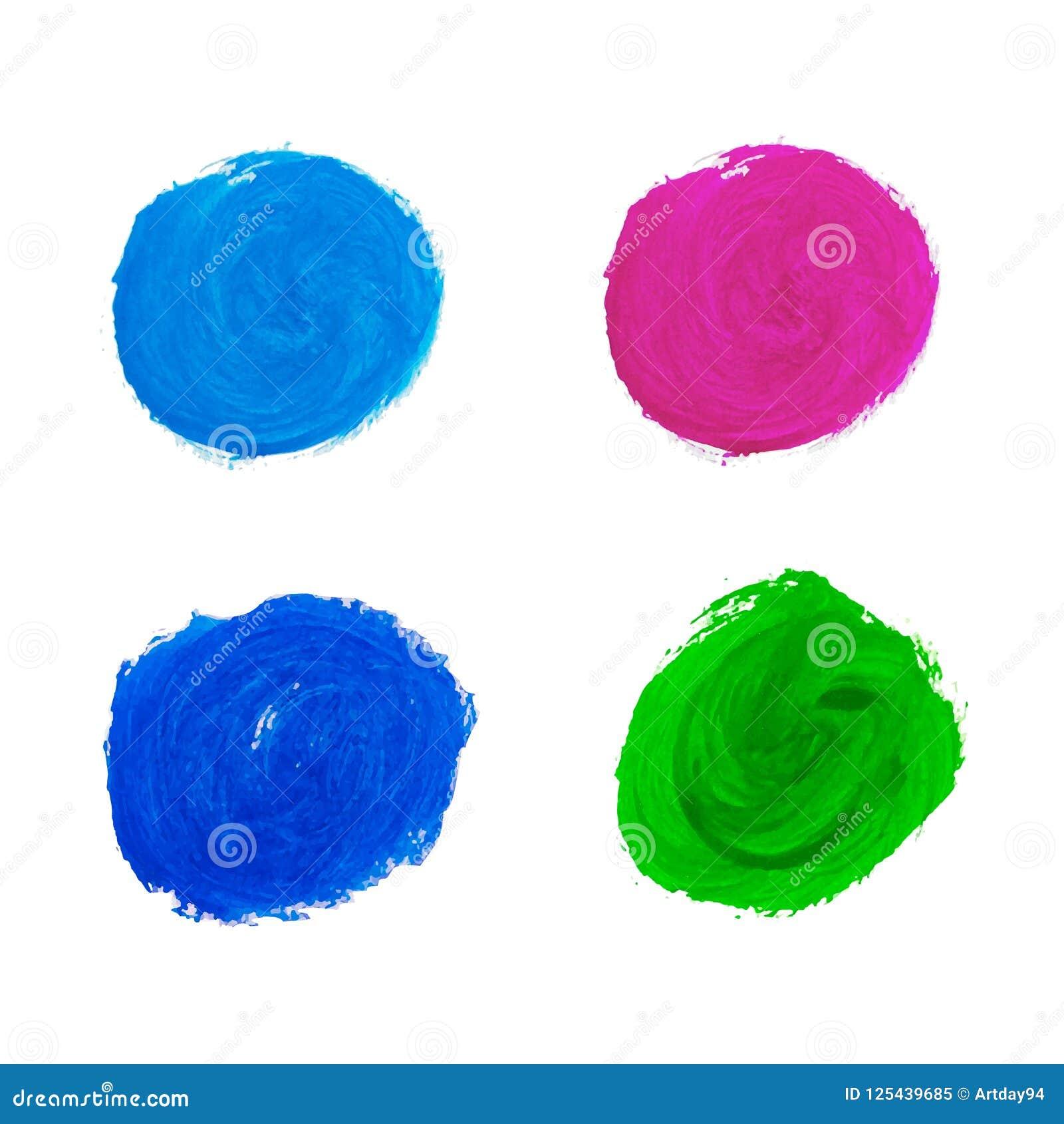 Akwareli kolorowe plamy Akwareli ręka malująca okrąża kolekcję odizolowywającą na białym tle