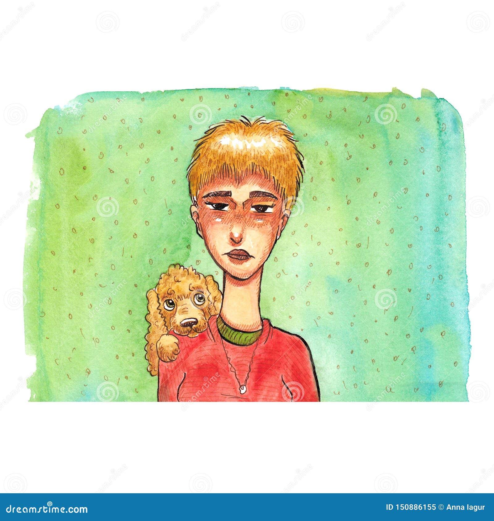 Akwareli kreskówki portret blondynki dziewczyna z jej psem na błękicie