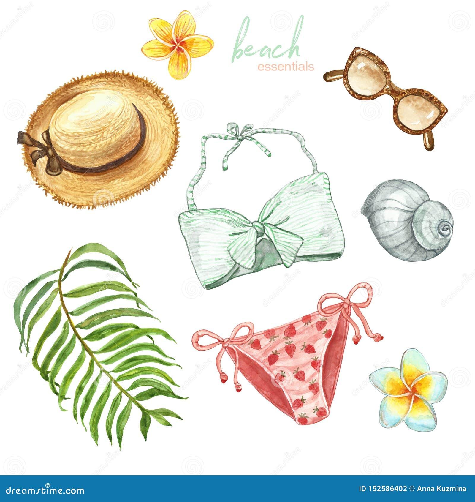 Akwareli lata ręka malujący plażowy set Kobiety swimwear, strój, słomiany kapelusz, okulary przeciwsłoneczni, tropikalne rośliny