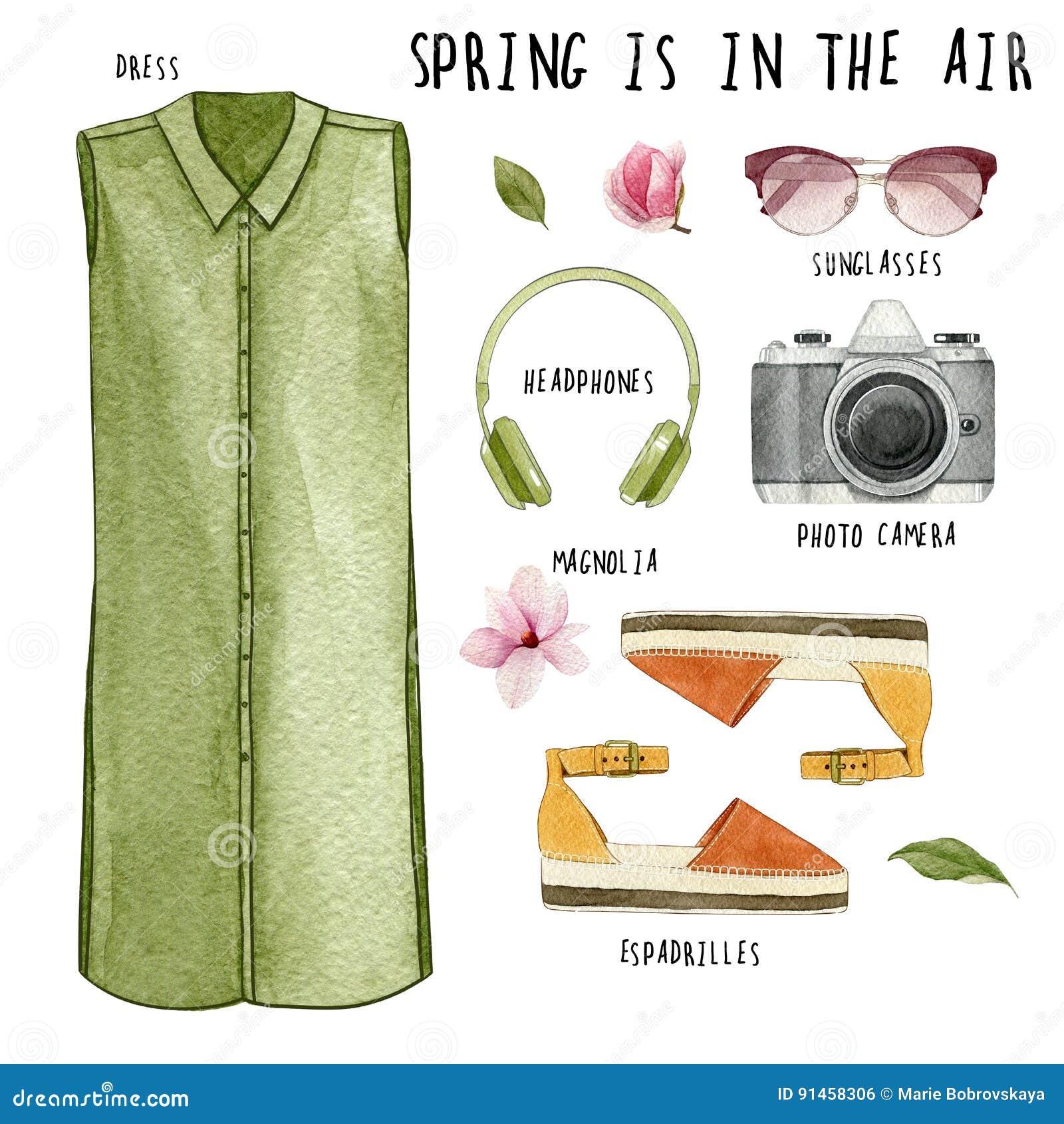 Akwareli mody ilustracja Set modny strój i akcesoria: suknia, hełmofony, fotografii kamera, okulary przeciwsłoneczni, espadrilles