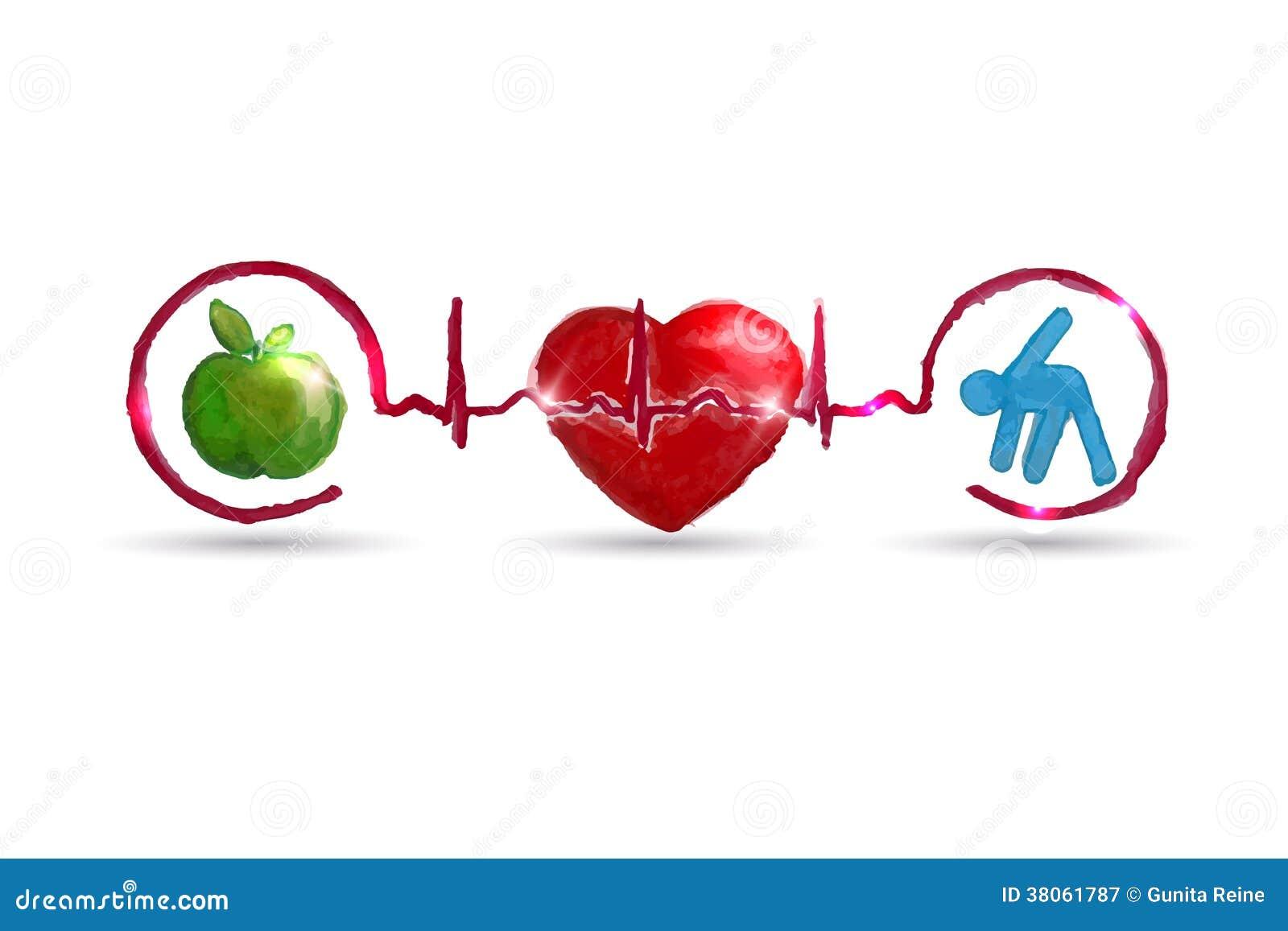 Akwareli opieki zdrowotnej zdrowi żywi symbole
