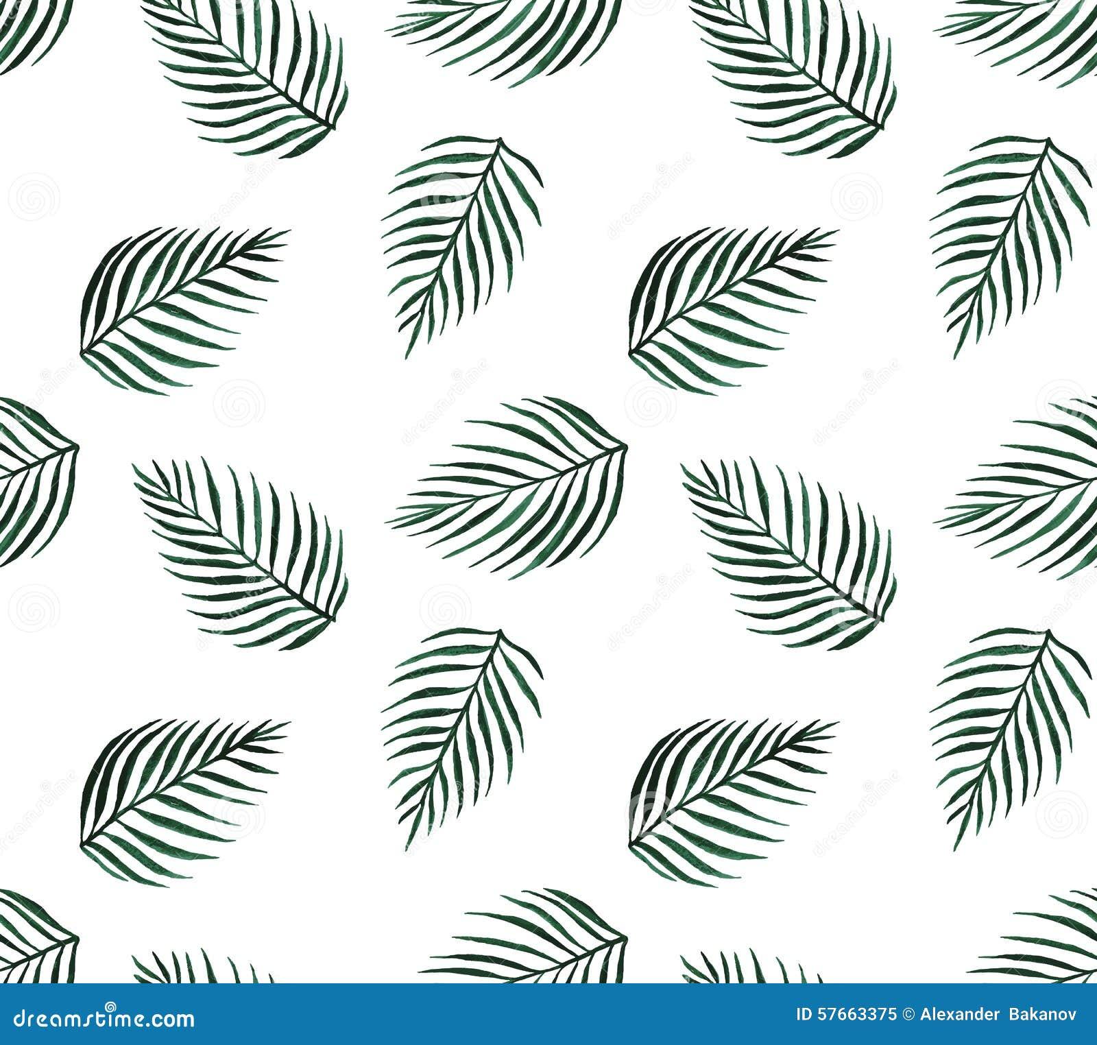 Akwareli palmy tropikalni bezszwowi deseniowi liście