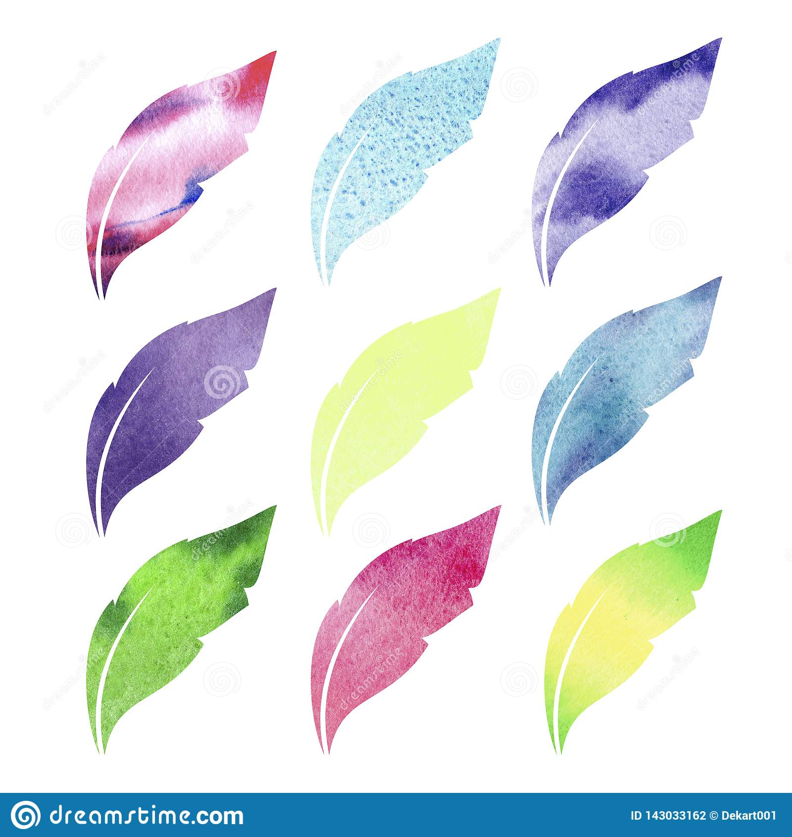 Akwareli piórka ustawiający Wręcza patroszoną ilustrację z kolorowymi piórkami i białym tłem