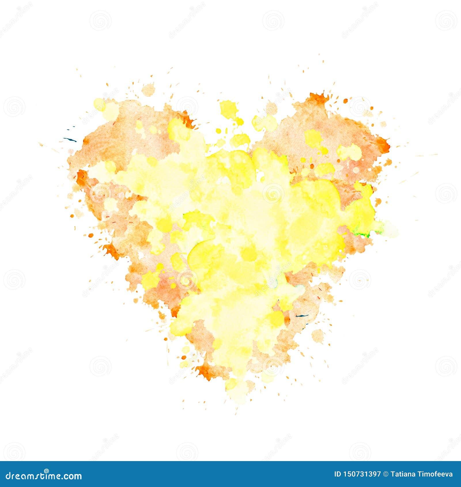 Akwareli plama w formie serca