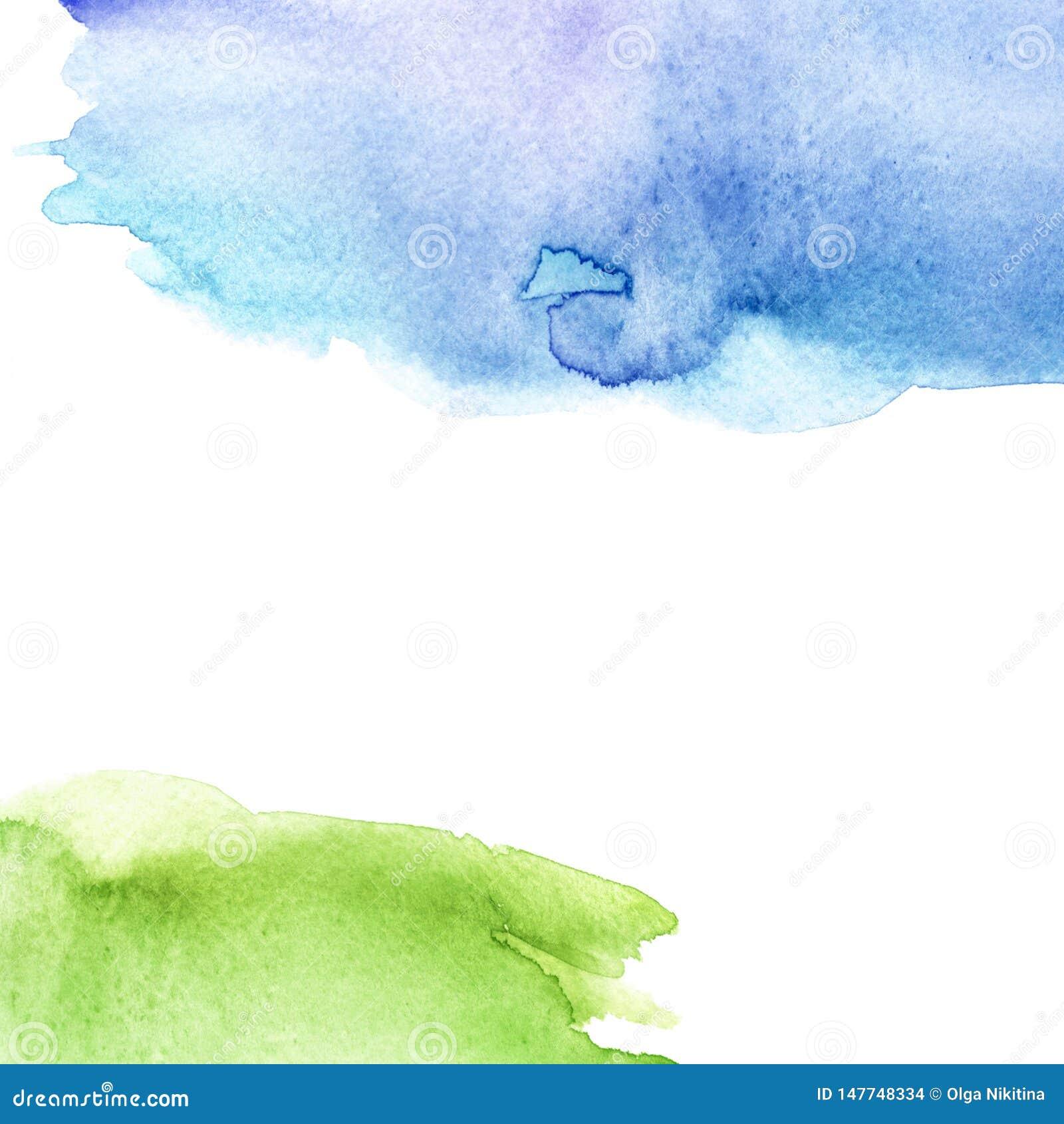 Akwareli pluśnięcia plama, błękit i zieleń, Abstrakcjonistyczny kleks, tło Akwareli pole, niebo i trawa, Abstrakcjonistyczny podm