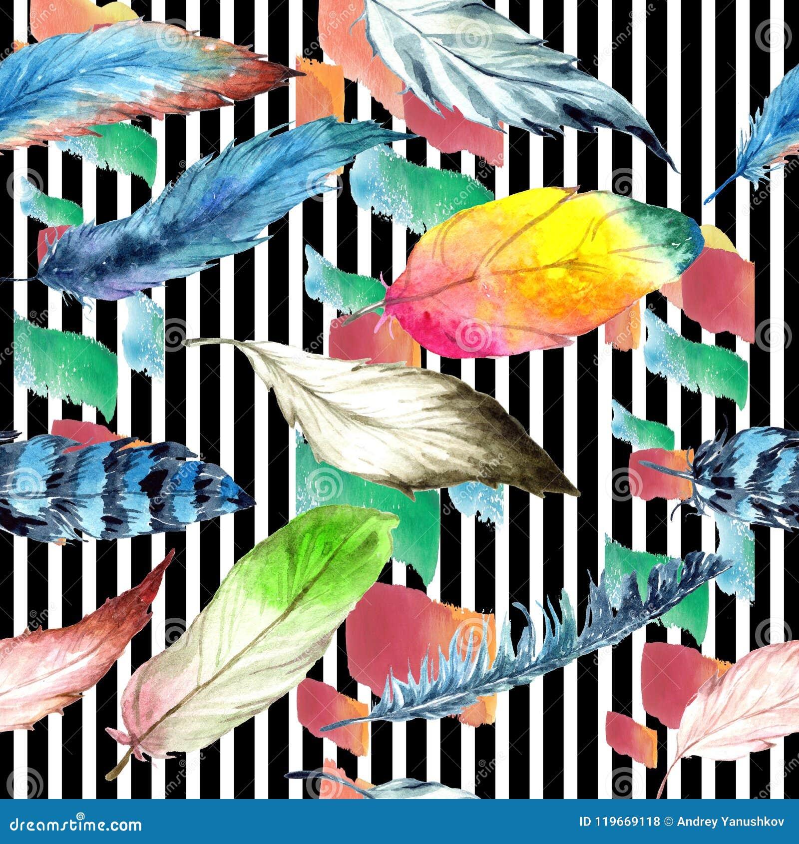Akwareli ptasi piórko od skrzydła Bezszwowy tło wzór Tkanina druku tapetowa tekstura