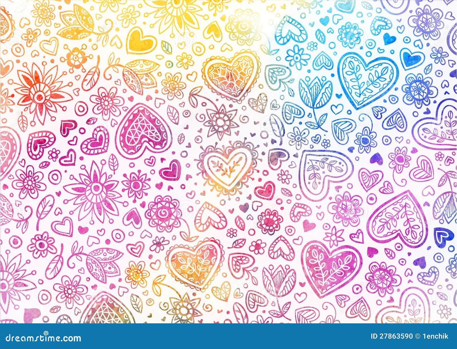 Akwareli ręka malujący tło z sercami