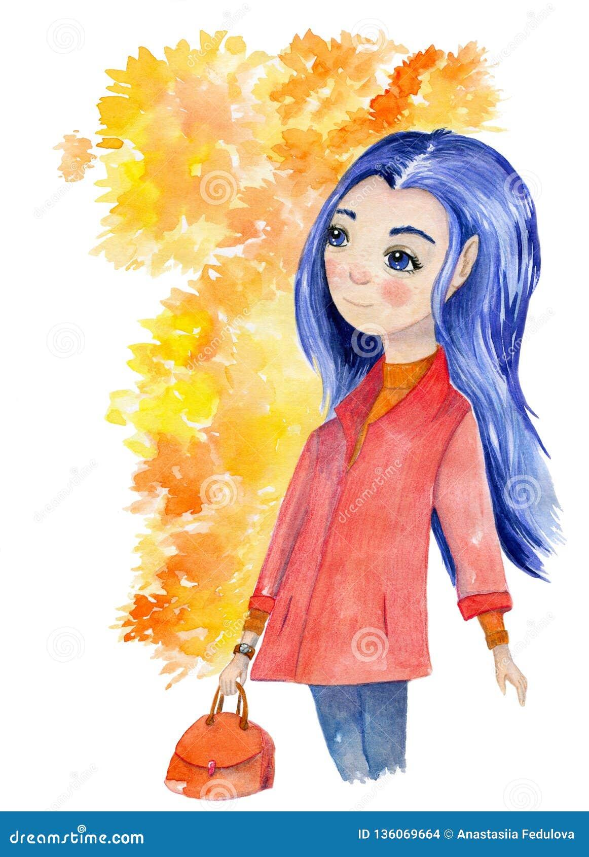 Akwareli ręka rysująca sztuka z piękną jesieni dziewczyną z błękitnym włosy i żółtymi liśćmi otaczał jej głowę