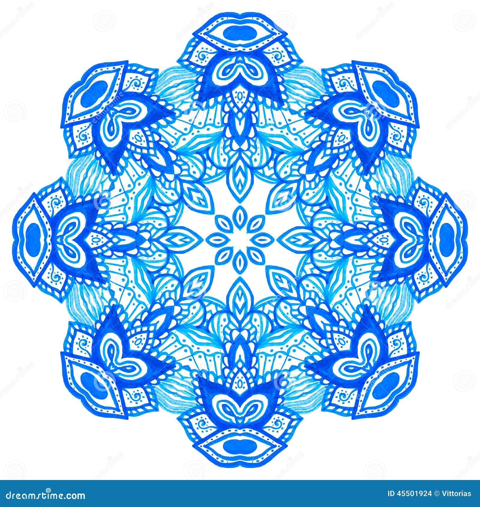 Akwareli ręka rysujący mandala