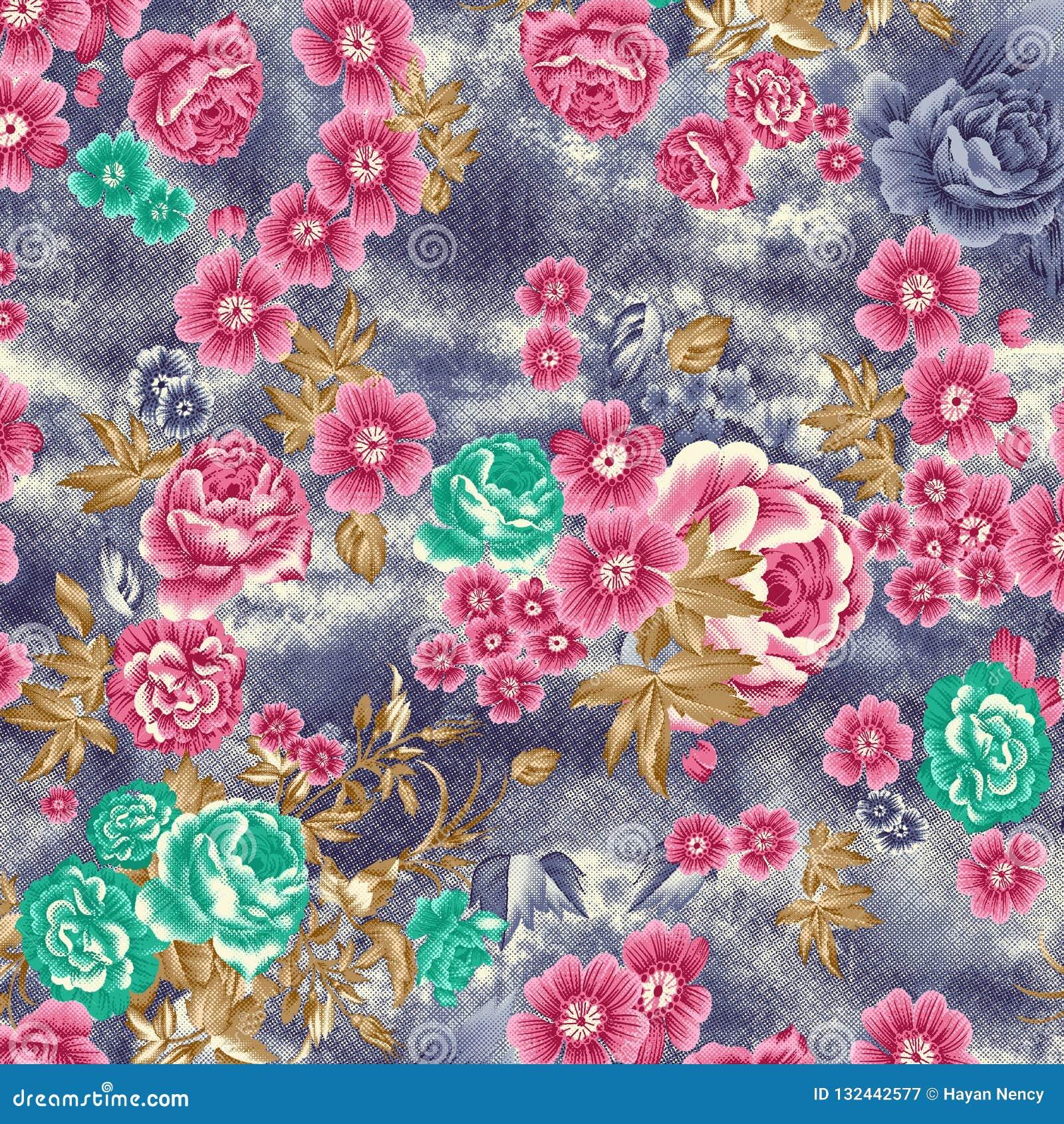 Akwareli raster kwiatu wzór na teksturze