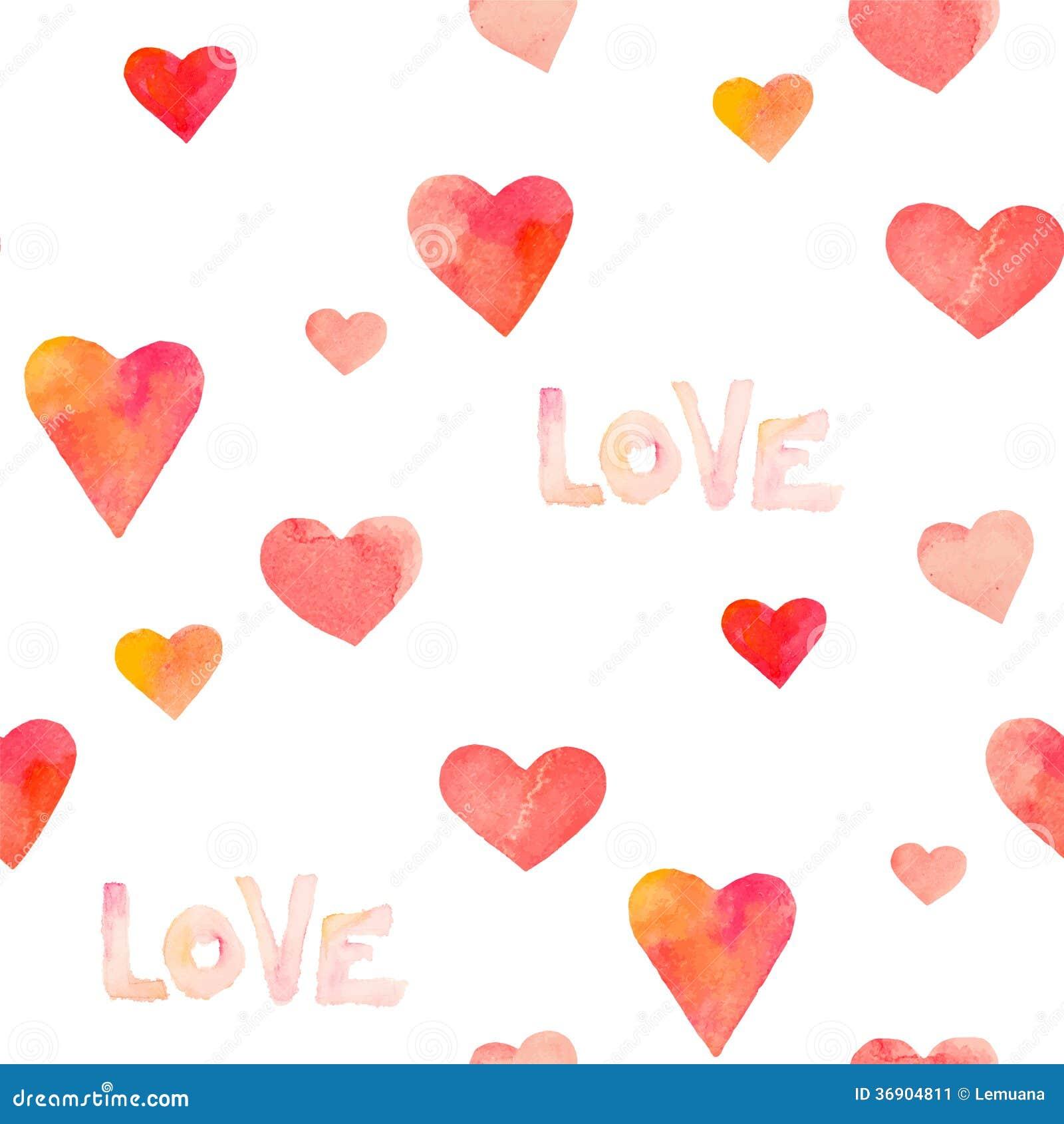 Akwareli serc bezszwowy wzór