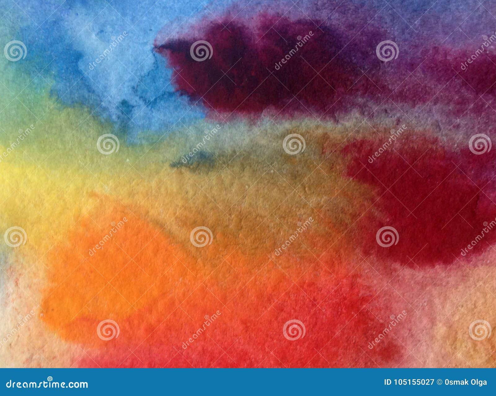 Akwareli sztuki tła barwidła abstrakcjonistyczny niebo chmurnieje zmierzchu fiołkowego żółtego pomarańczowego błękitnego kolorowe
