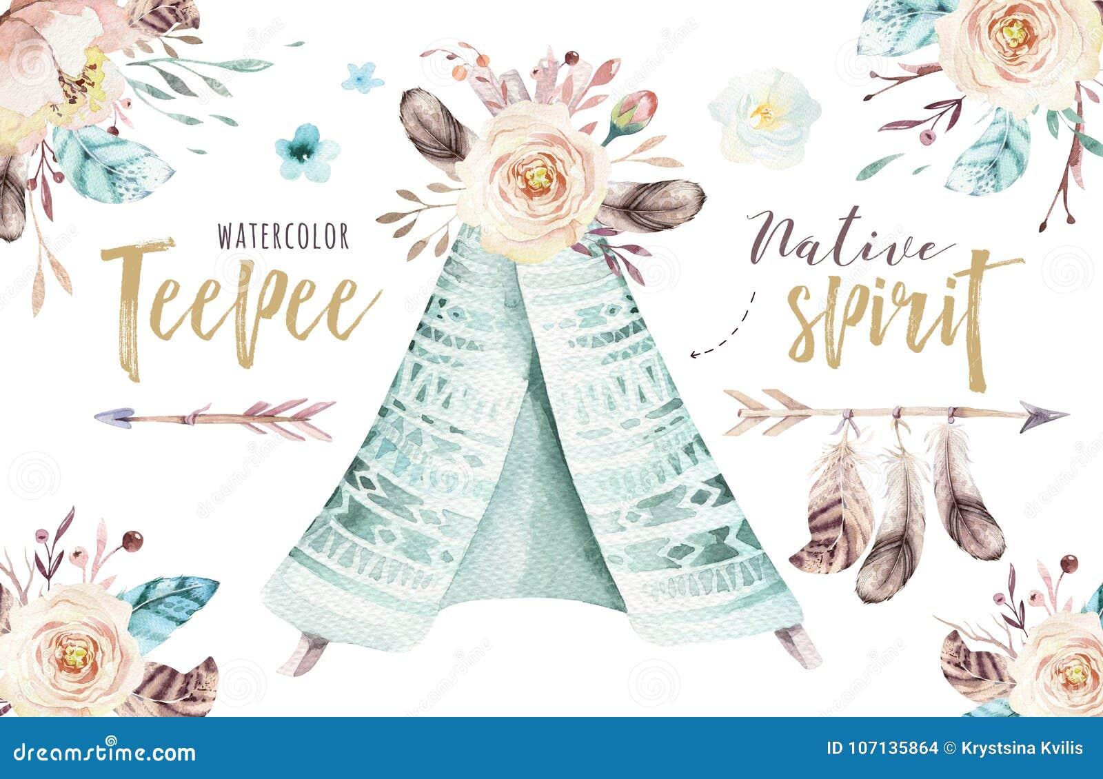 Akwareli teepee ilustracja Watercolour projekta trójnika siuśki artystyczny organicznie druk colour boho rodzima sztuka z ręką
