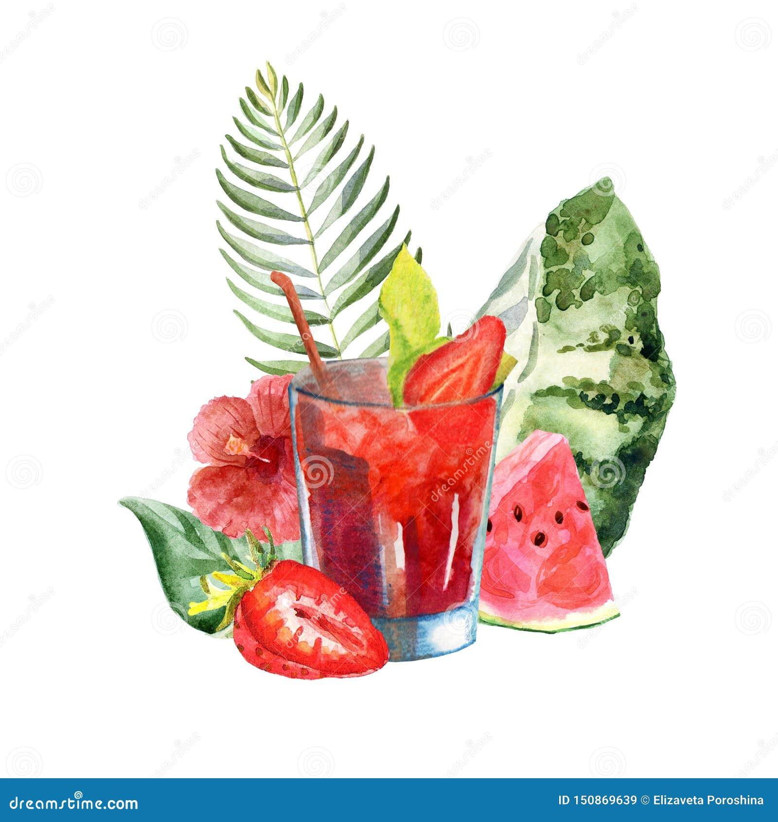 Akwareli tropikalna ilustracja z koktajlem, owoc i kwiatami lata,