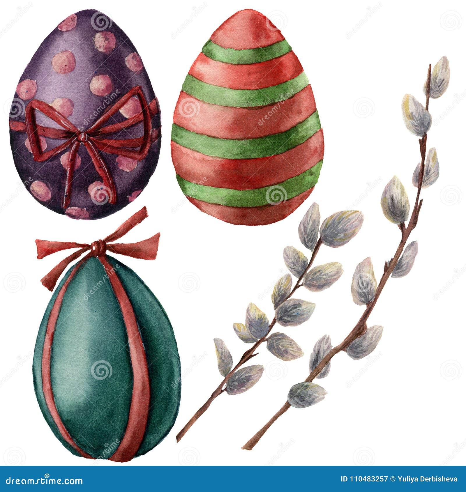 Akwareli Wielkanocny ustawiający z jajkami i wierzby gałąź Wręcza malującej kici wierzby i jaskrawych jajek z wystrojem wakacje