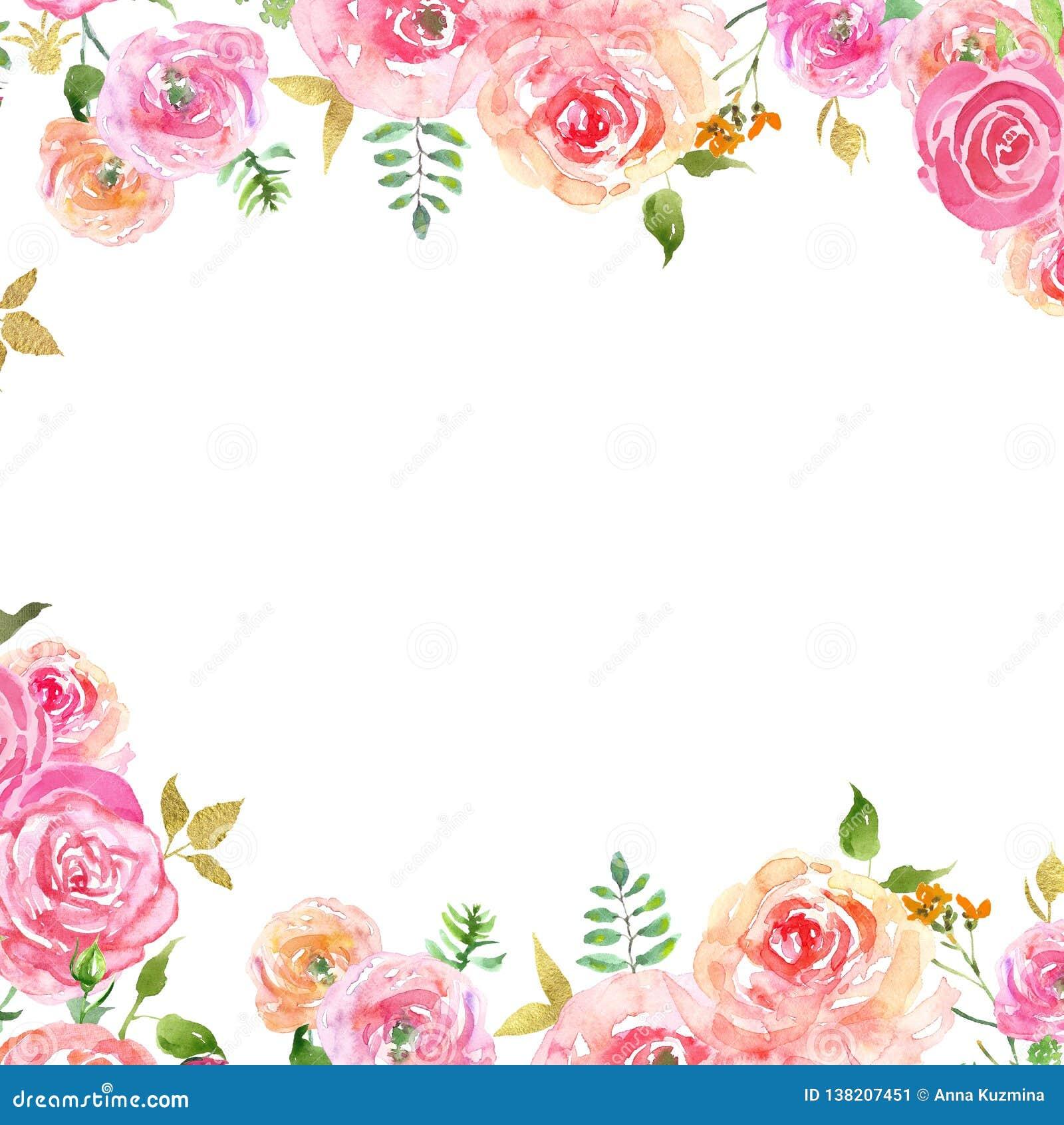 Akwareli wiosny kwiecista rama z rumieniec menchii płatkami i złoto liśćmi Ręka malująca delikatna granica z różami
