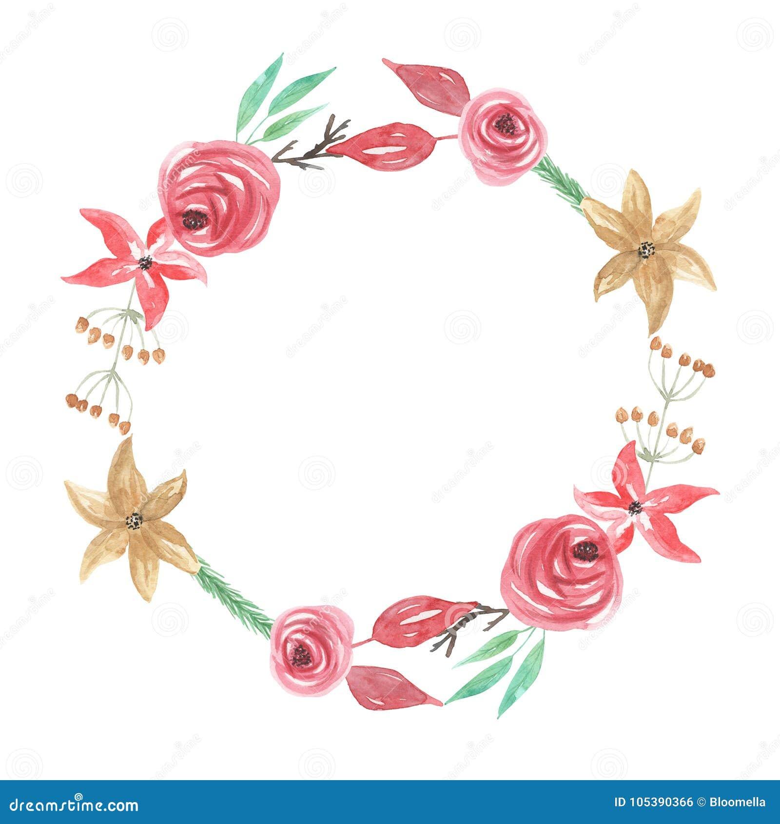 Akwareli Yule jagod kwiatów Bożenarodzeniowej zimy wianku Kwiecista girlanda