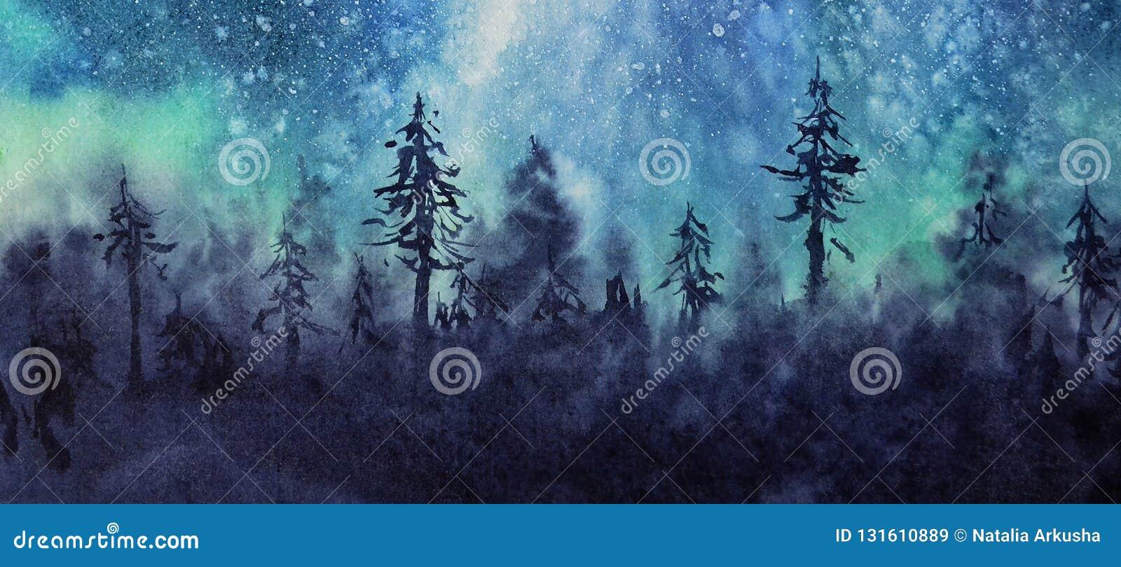 Akwareli zimy krajobrazu zorzy gwiazdy i niebo