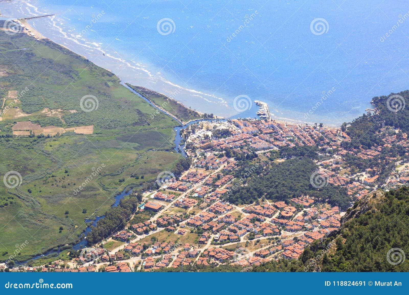 Akyaka cityscape from sakartepe with aegean sea