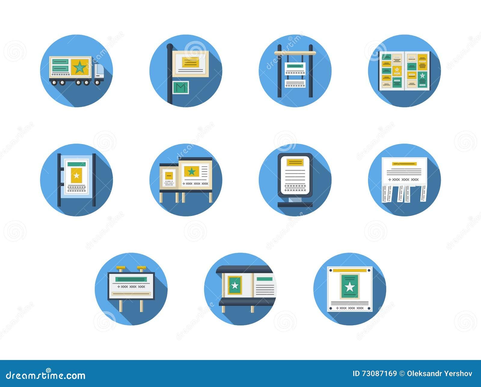 Al aire libre publicidad de iconos planos redondos de los sitios