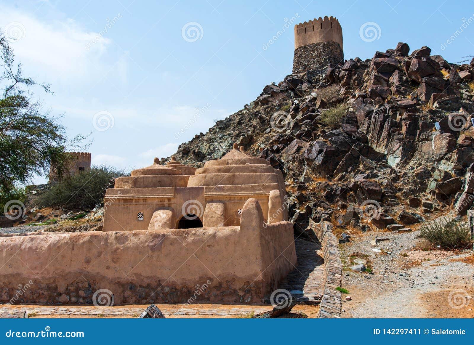 Al Bidya dziejowy meczet i fort w emiracie Fujairah w UAE