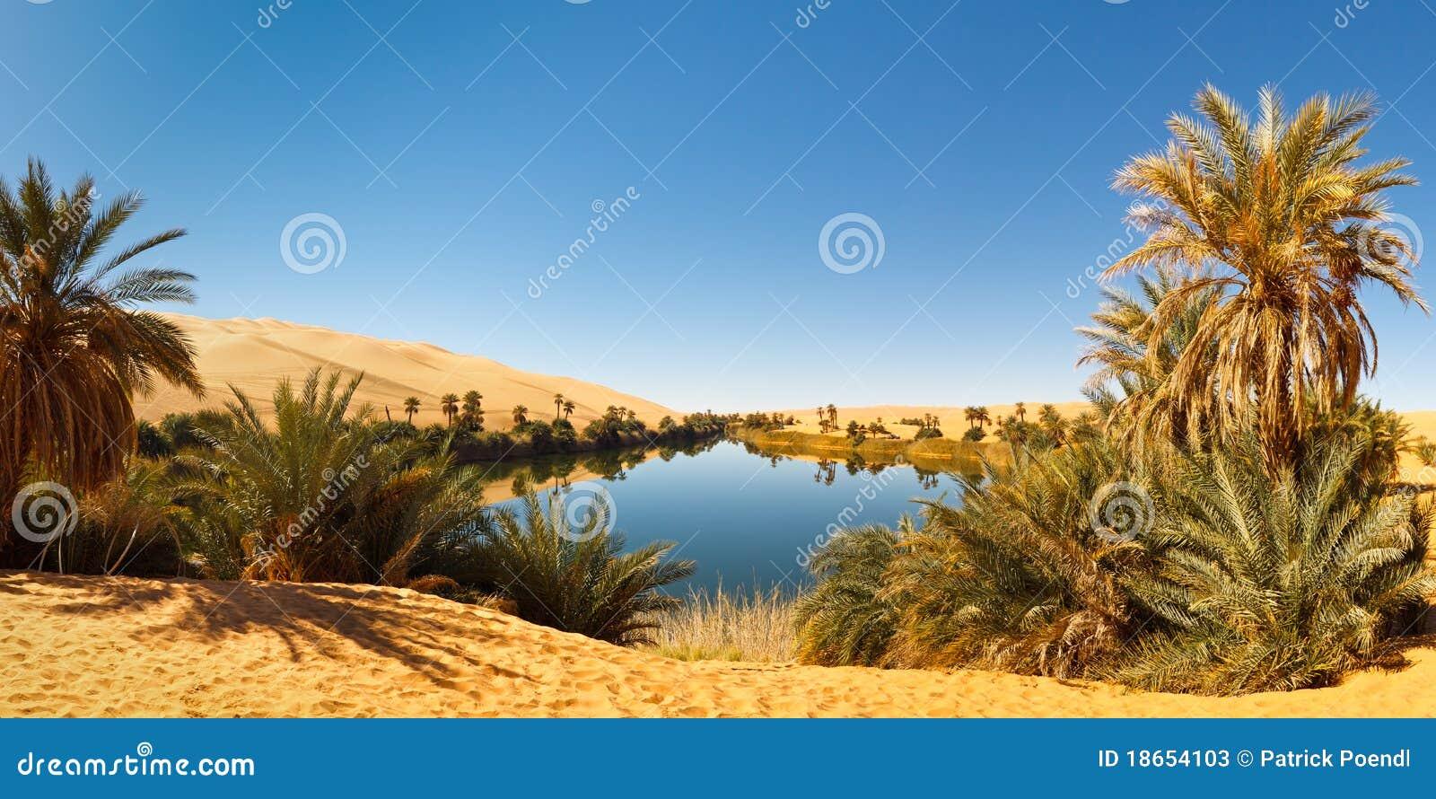 Al pustynny jeziorny Libya ma oazy Sahara umm